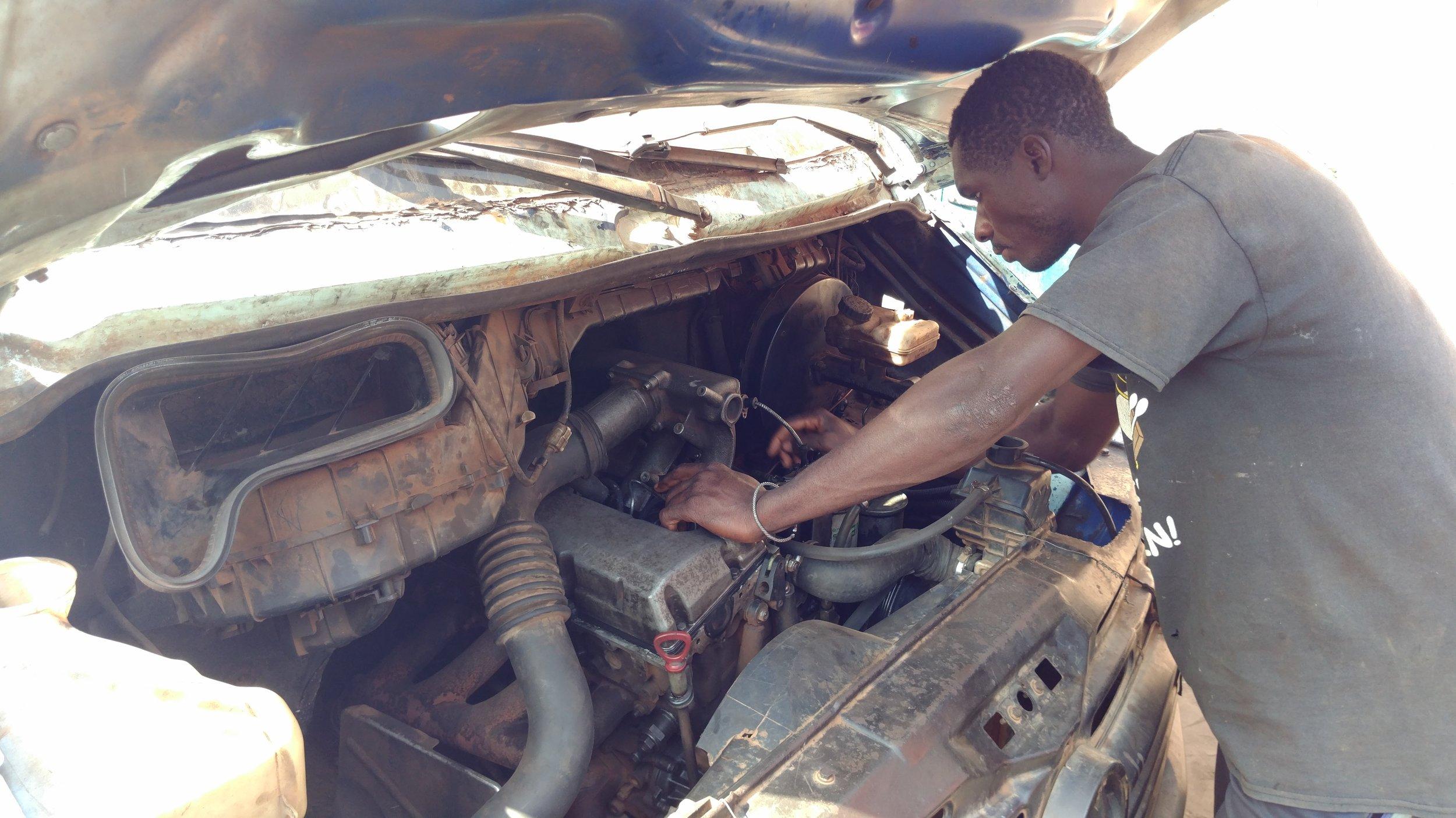 Bruno checking an engine