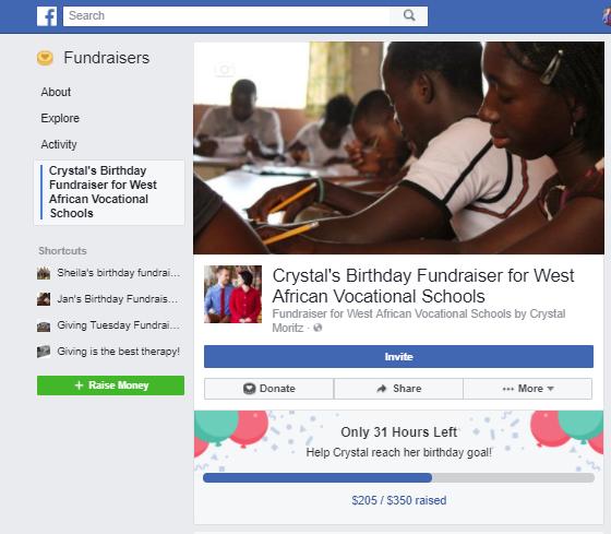 Facebook Birthday Fundraiser Image for WAVS