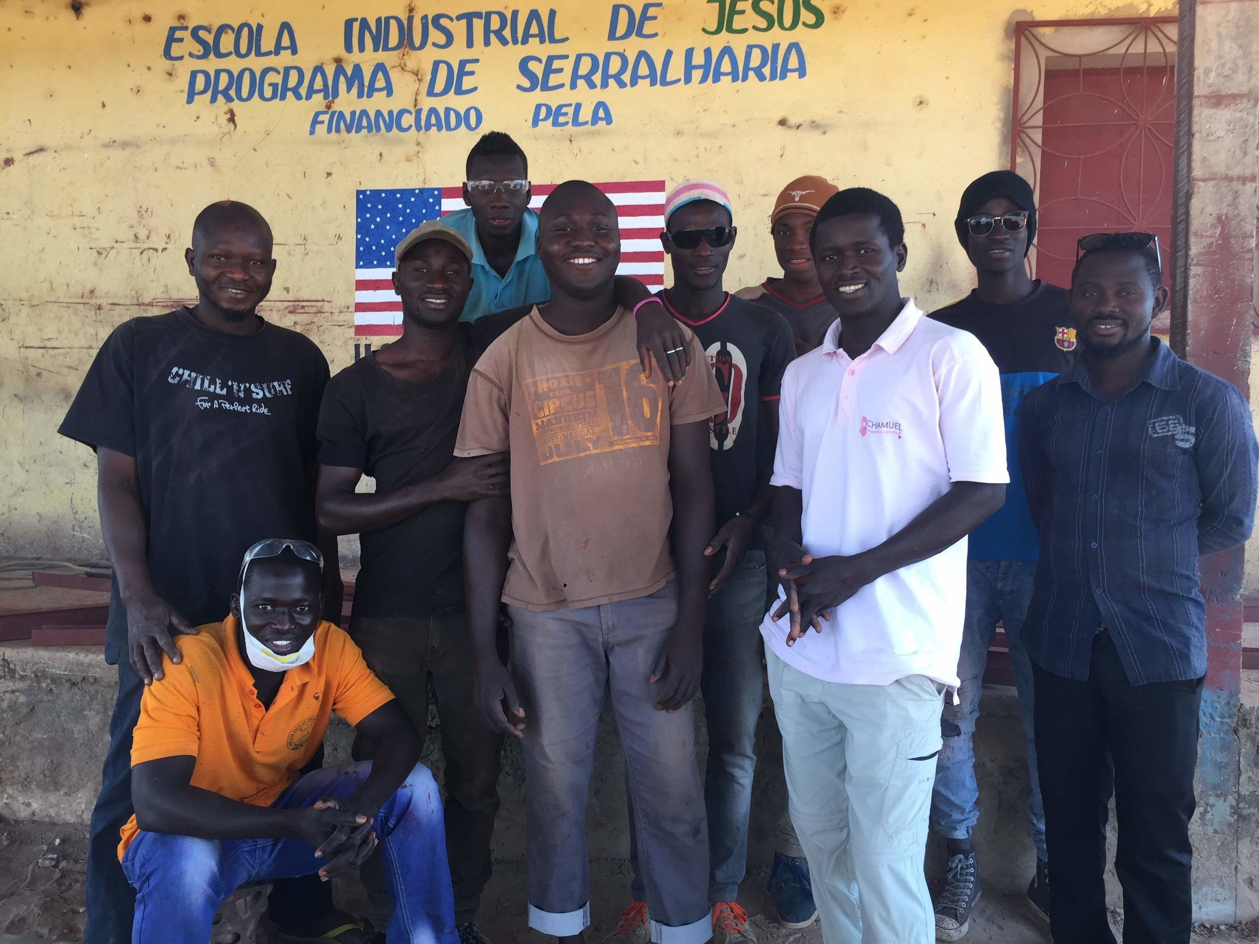 Sergio, standing at the far left, with his classmates at the WAVS Vocational School in Guinea-Bissau, West Africa.