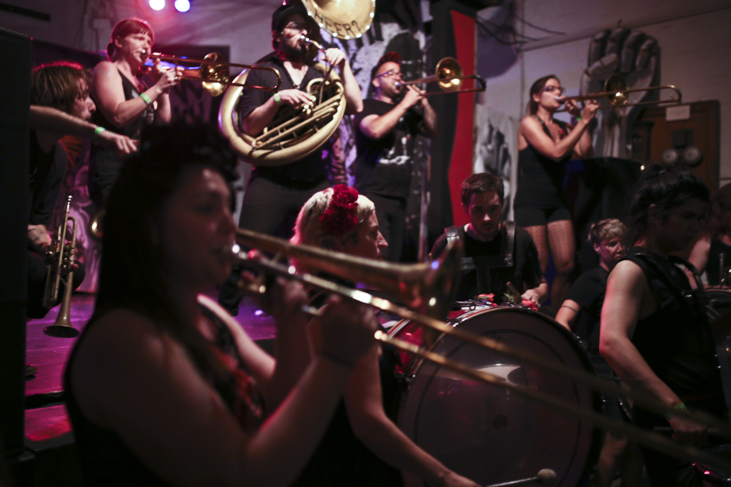 The WhatCheer Brigade performs on June 20, 2017, at Gallery 5 in Richmond, Va. [Photograph by Scott P. Yates]