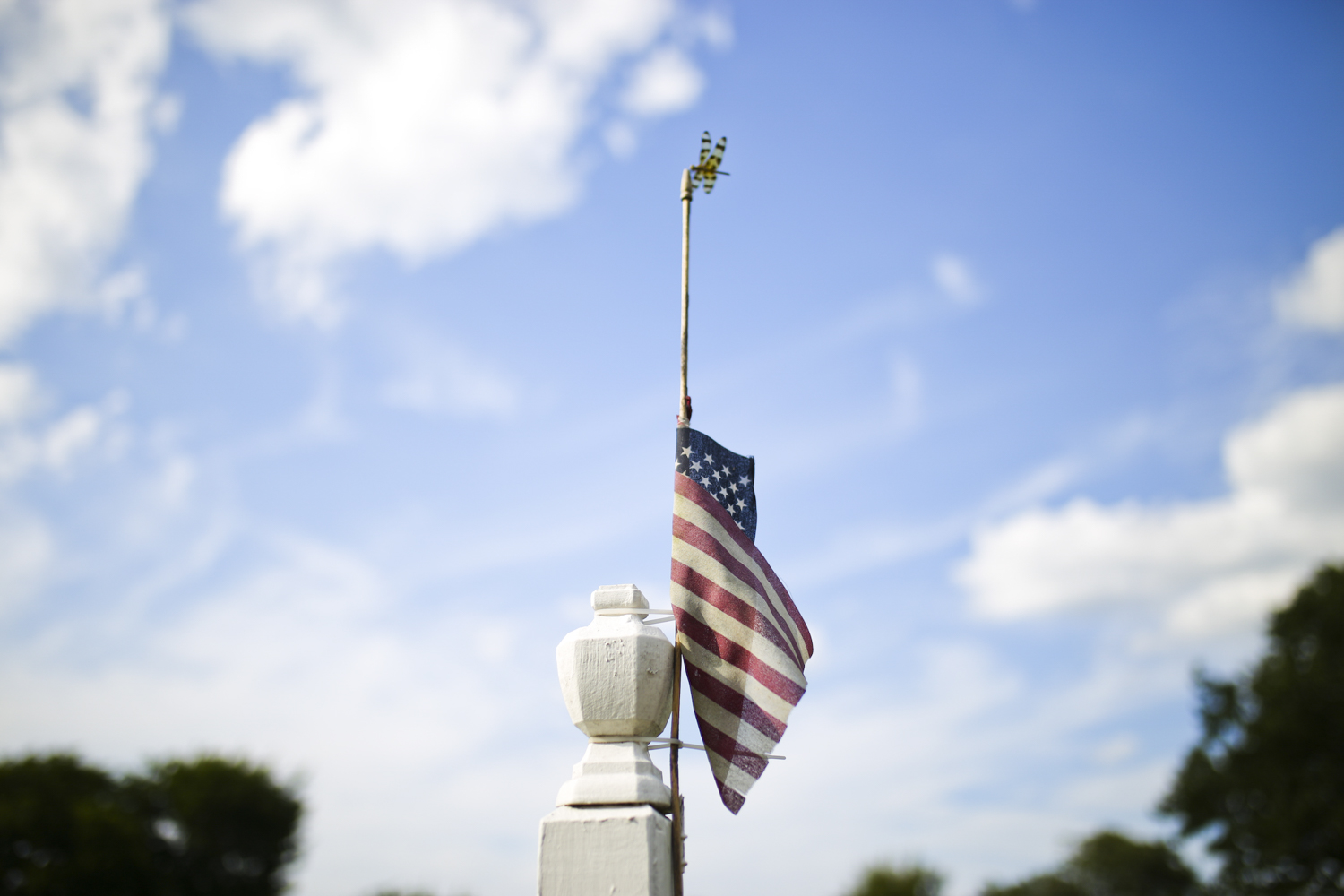 What appears to be a Halloween pennant dragonfly, an insect native to eastern North America, rests on the tip of an American flag attached to the welcome sign at Pocahontas Island neighborhood in Petersburg on Monday, July 24, 2017. [Scott P. Yates/progress-index.com]