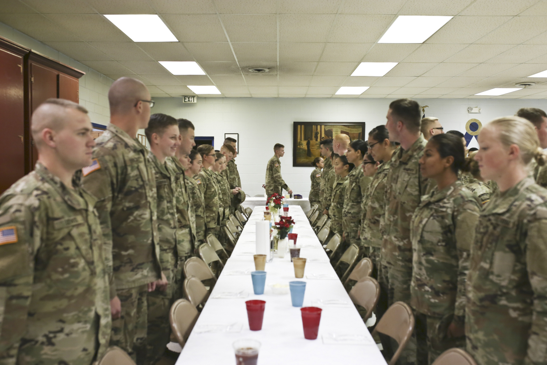 Fort Lee soldiers arrive at Petersburg Masonic Lodge #15 in Petersburg on Wednesday, Nov. 22, 2017. [Scott P. Yates/progress-index.com]