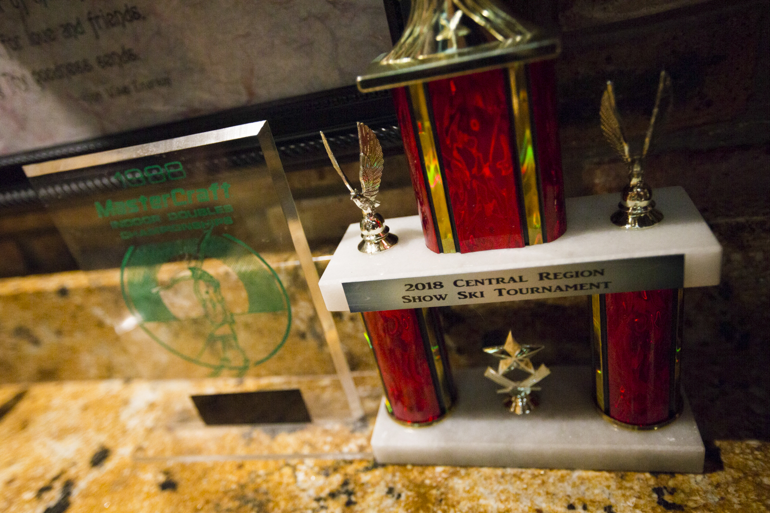 Randy and Wendy Seerup have been skiing together since before they were married. One trophy is from 1988, early in their career, and the other is from this season, seen on Friday, Aug. 17, 2018, at the Seerup's home in Machesney Park. [SCOTT P. YATES/RRSTAR.COM STAFF]
