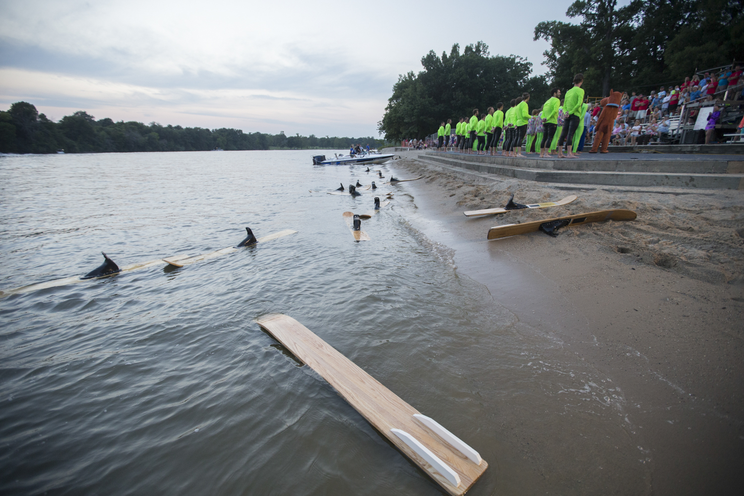 Skis litter the shoreline during the final stage presentation at the conclusion of the show on Friday, Aug. 3, 2018, at Shorewood Park in Loves Park. [SCOTT P. YATES/RRSTAR.COM STAFF]