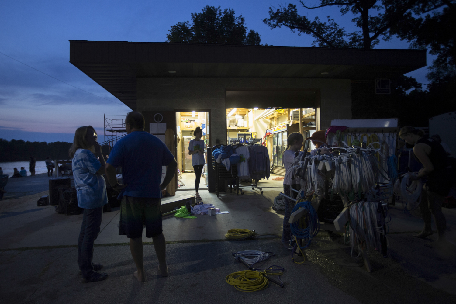 It is a hive of activity behind the storage area while the team packs up equipment after each show. [SCOTT P. YATES/RRSTAR.COM STAFF]