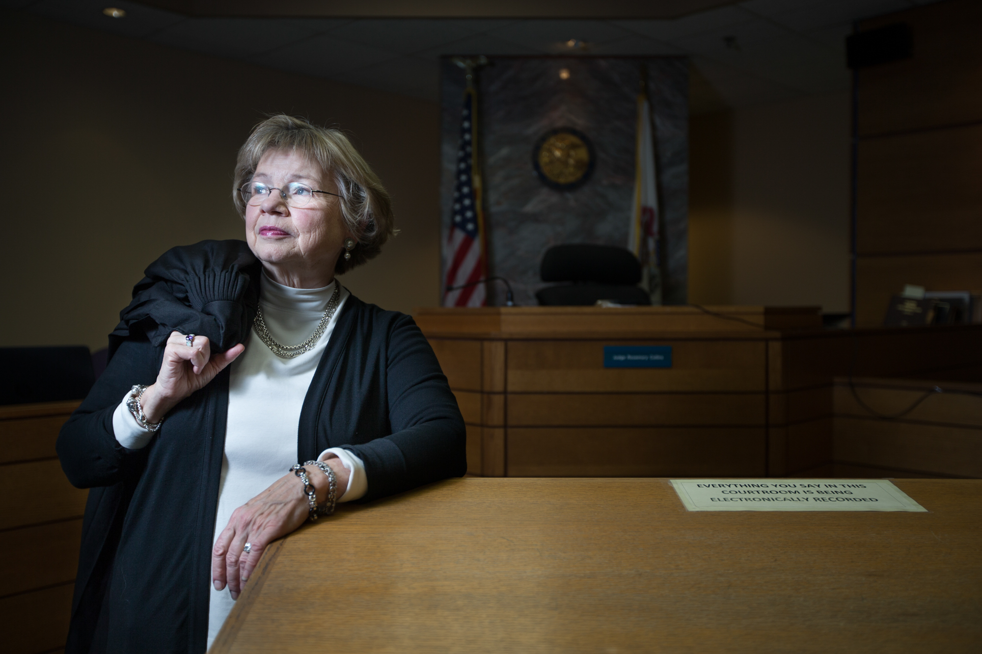 Judge Rosemary Collins poses for a portrait in her courtroom of almost 30 years on Tuesday, Nov. 20, 2018, at the Winnebago County Circuit Courthouse in Rockford.