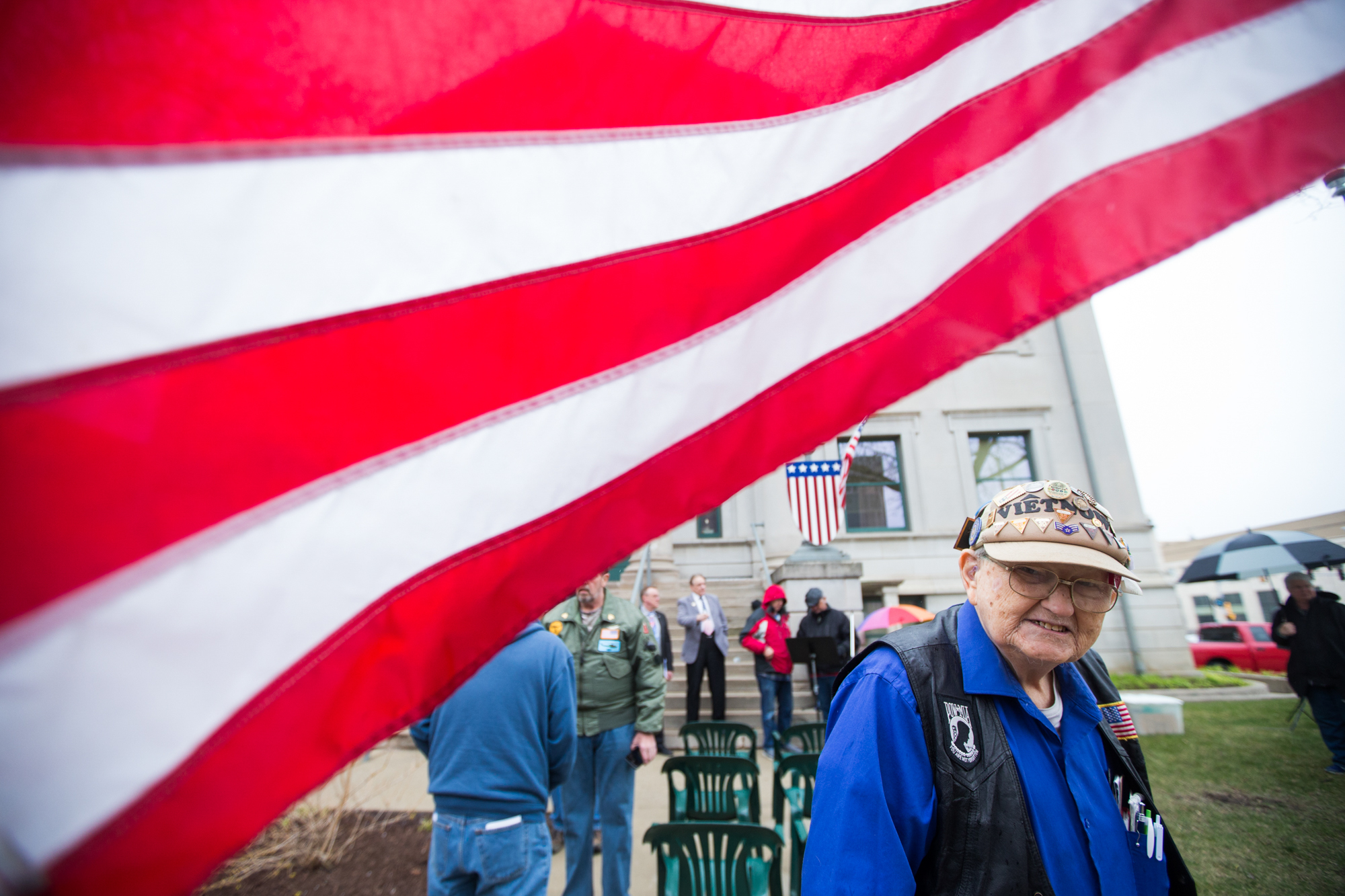 Army veteran Gerald Van Alstyne, whose great grandfather helped build the Veterans Memorial Hall here, attends the unveiling of the Glory Truck on Saturday, April 21, 2018, at Veterans Memorial Hall in Rockford. [SCOTT P. YATES/RRSTAR.COM STAFF]