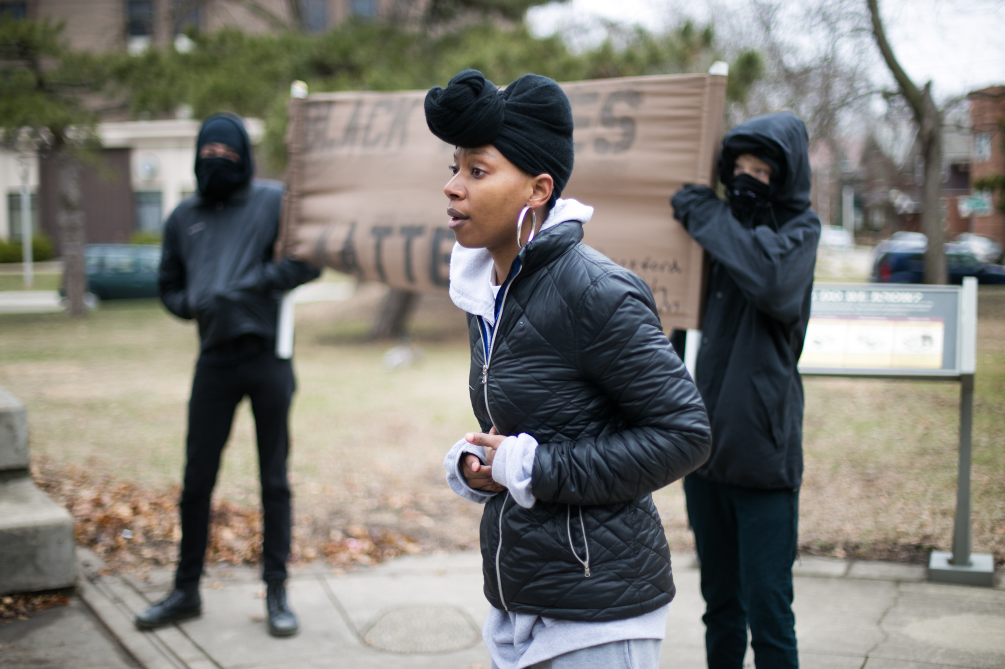 Starr Davison of Rockford, one of the event organizers, speaks at a memorial vigil for Stephon Clark and Jovan Blake on Saturday, April 14, 2018, at Beattie Park in Rockford. Clark was a Sacramento father fatally shot during an incident with police. Blake was shot and killed during an incident with two Rockford Metro Enforcement officers in 2016. [SCOTT P. YATES/RRSTAR.COM STAFF]