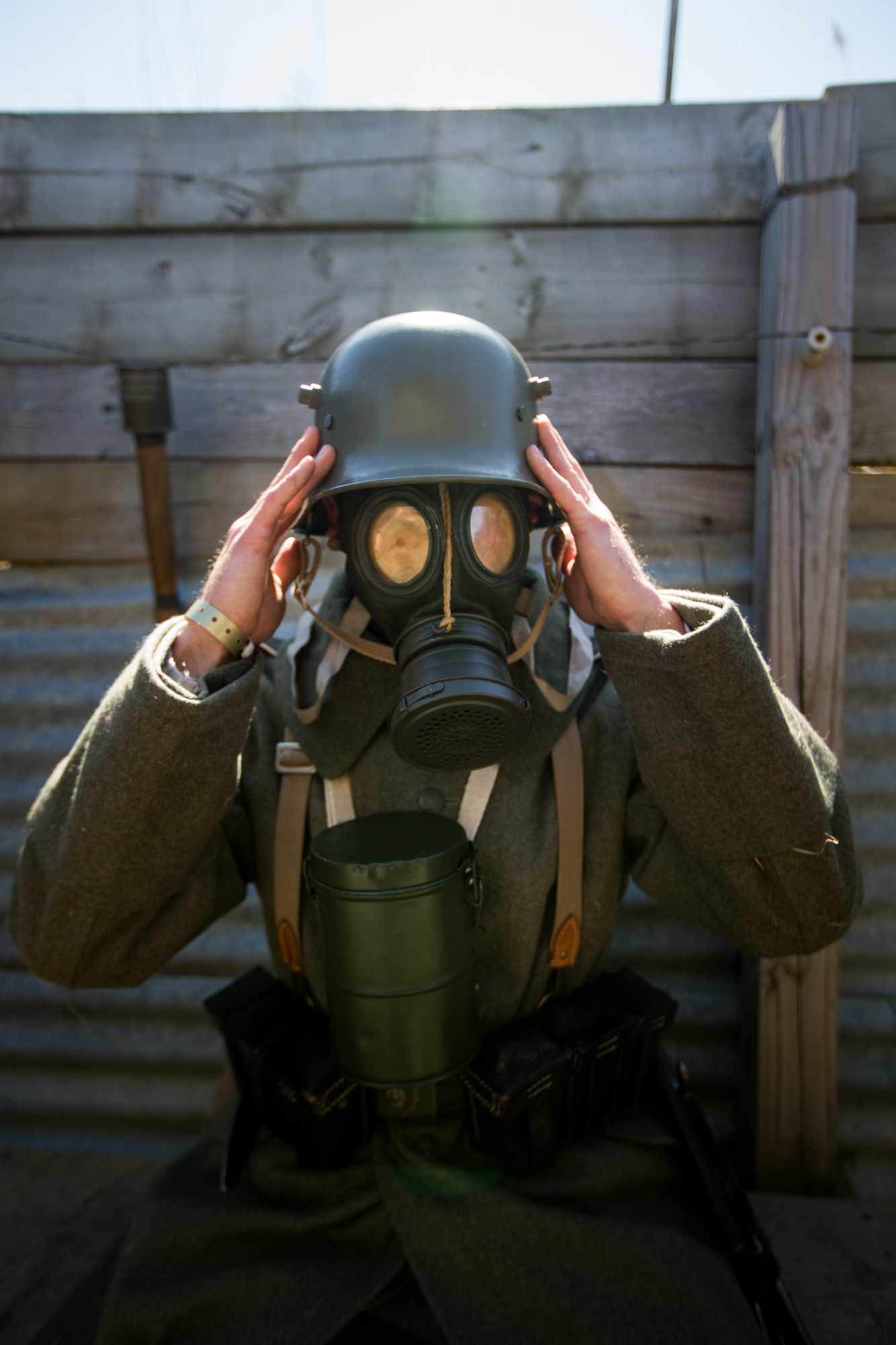 WWI reenactor Matt Lemasters of Springfield portray a German soldier with a gas mask during the 6th annual Great War event on Saturday, April 7, 2018, at Midway Village Museum in Rockford. [SCOTT P. YATES/RRSTAR.COM STAFF]