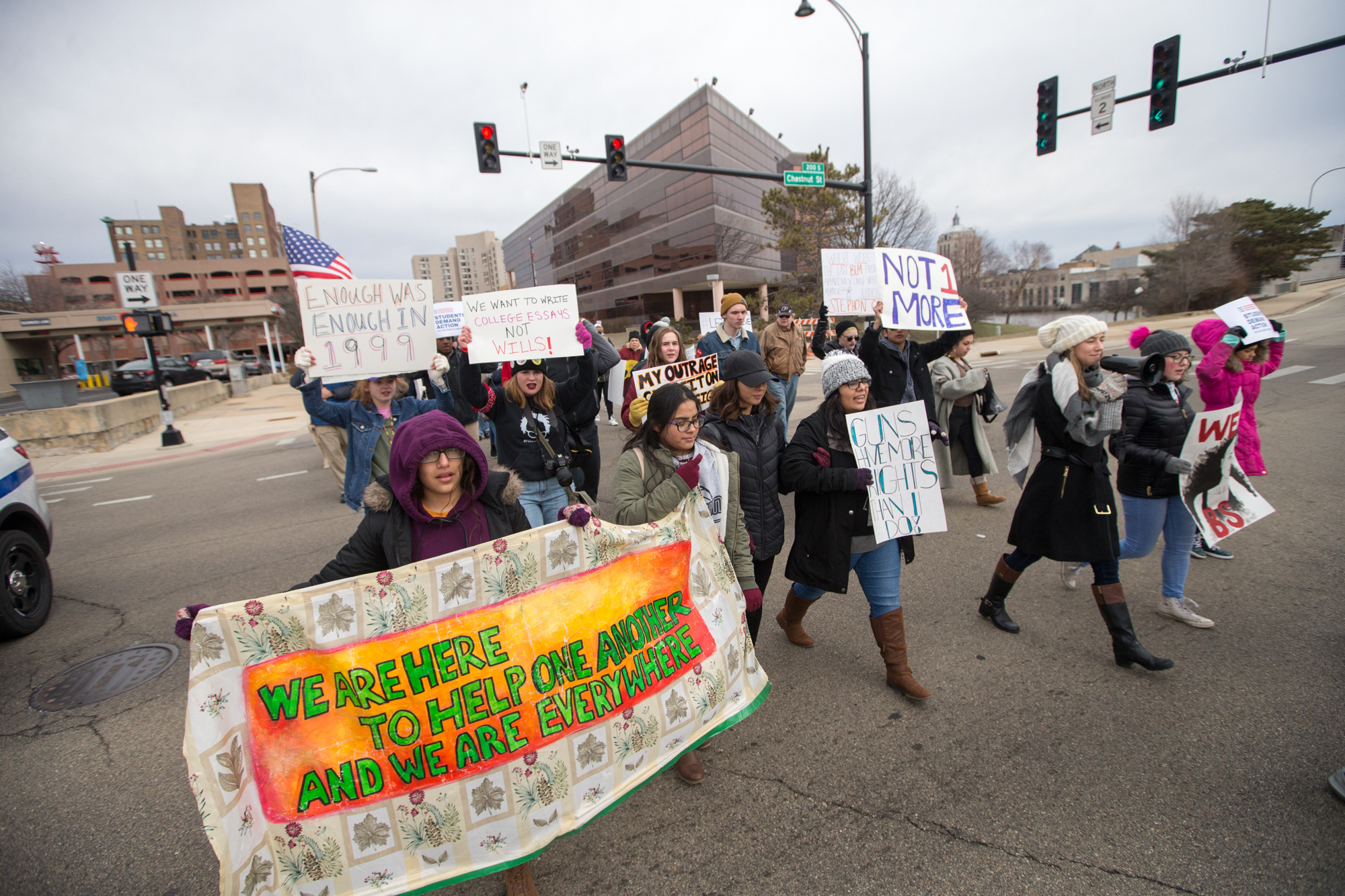 "Area students and concerned community members participate in ""March for Our Lives Rockford"" on Saturday, March 24, 2018, at North and South Wyman Street and Davis Park in Rockford. [SCOTT P. YATES/RRSTAR.COM STAFF]"