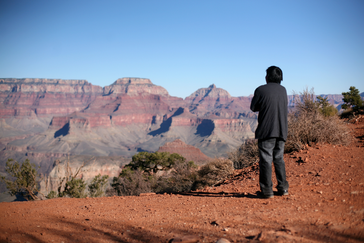 Tom, a white teacher, leads Dine (Navajo) students from Red Valley, Arizona, on a two-day hiking and camping trip to the Grand Canyon on Friday, Nov. 26, 2010, at the Grand Canyon in , Arizona. (Photograph by Scott P. Yates)