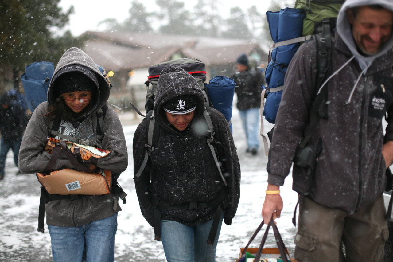 Tom, a white teacher, leads Dine (Navajo) students from Red Valley, Arizona, on a two-day hiking and camping trip to the Grand Canyon on Sunday, Nov. 28, 2010, at the Grand Canyon in , Arizona. (Photograph by Scott P. Yates)