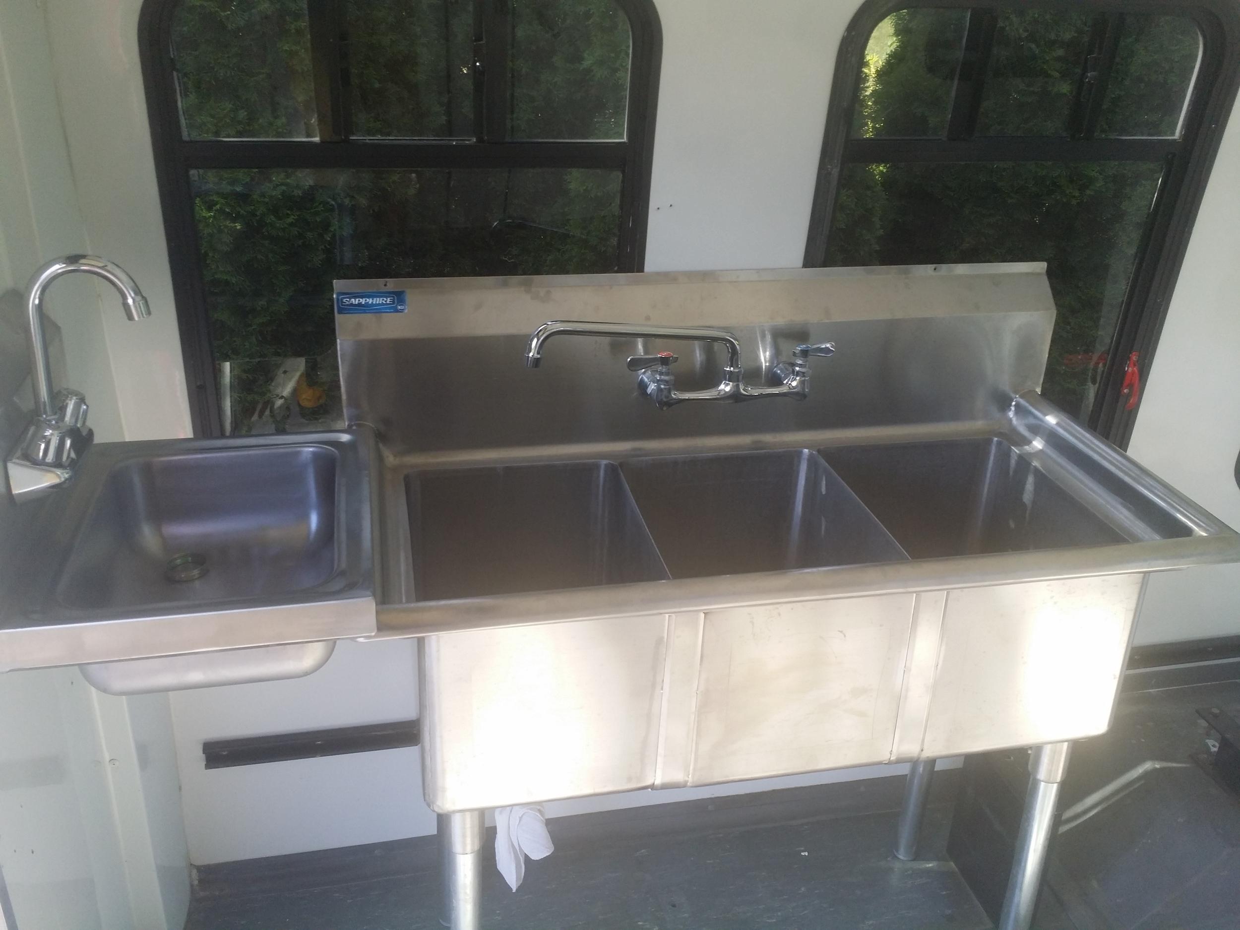 Three bay sink, Hand wash sink