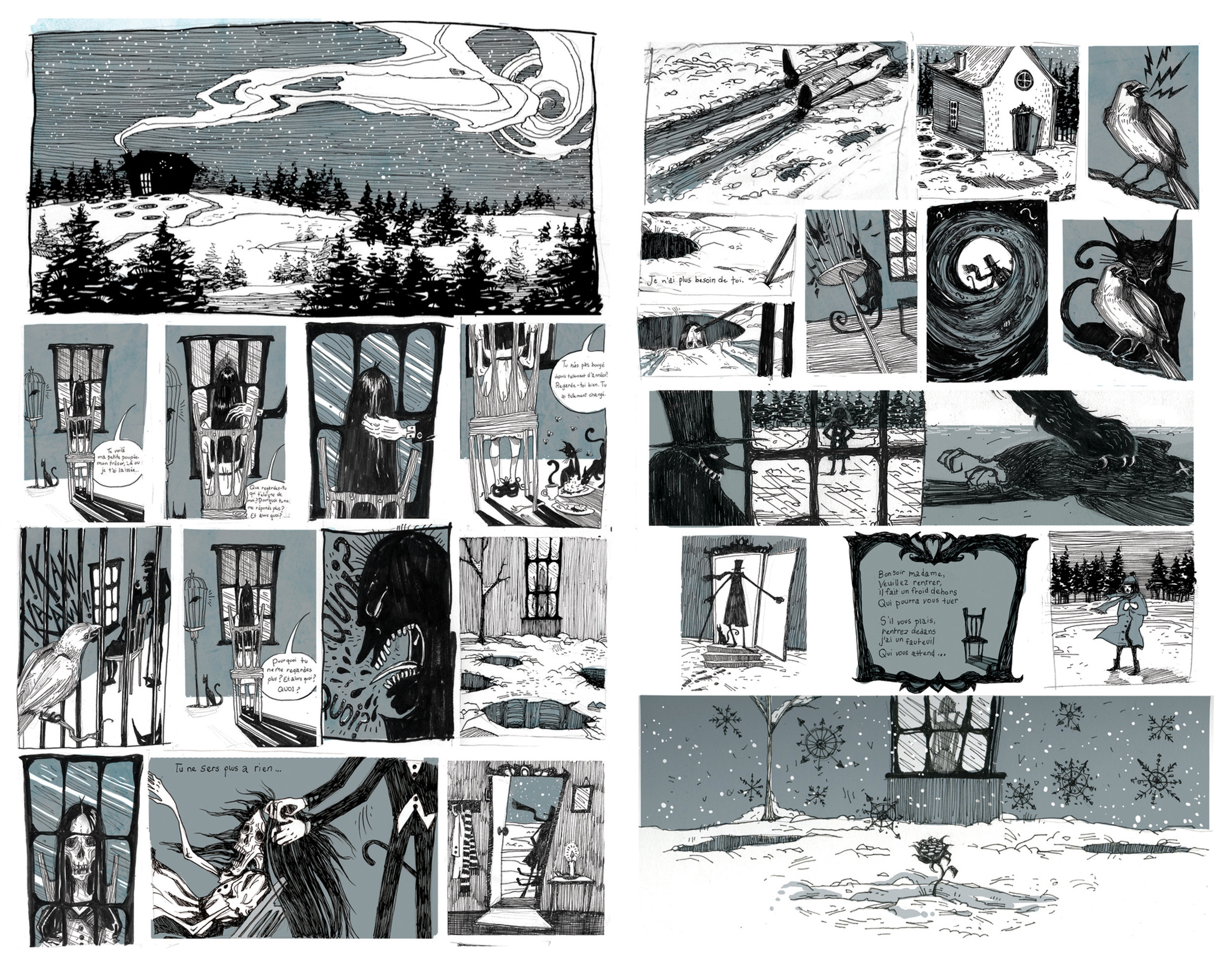 """Neige Noir"", Two Page Comic Strip"