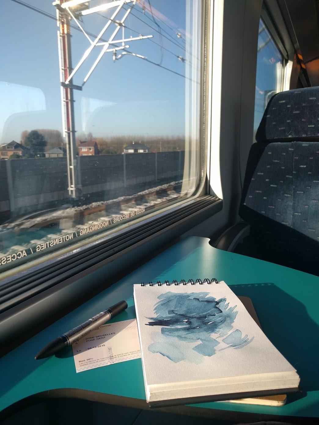 EH Sherman Art in Belgium - train sketch