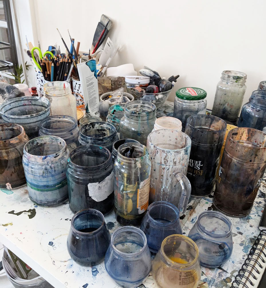 This desk was less of a painting space and more of a water/mixing cup collector.