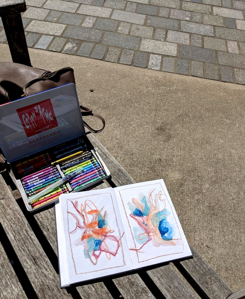 EH Sherman sketching at Fredrick Meijer Gardens