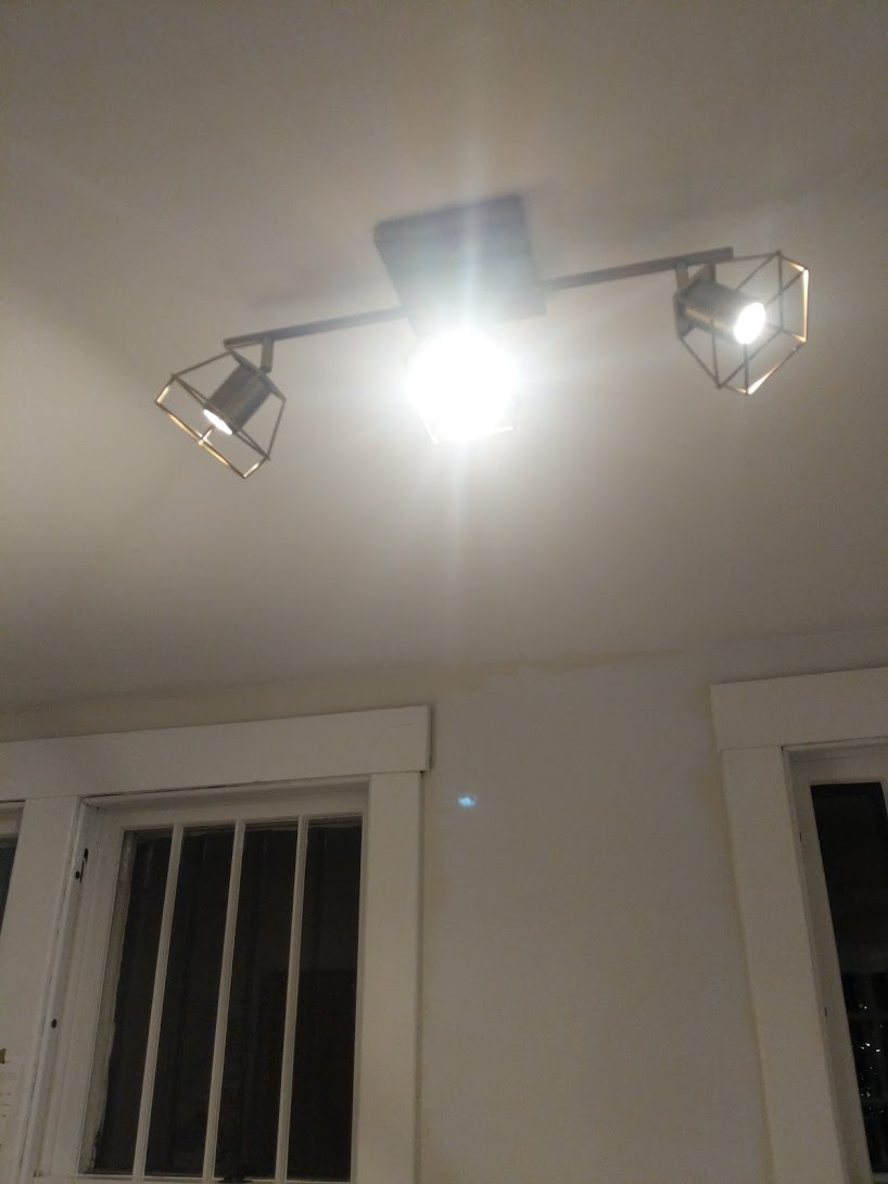 We had a little bump of a light up there, and I was hoping to find some directional light instead. I picked up this fixture at Home Depot and it's perfect.