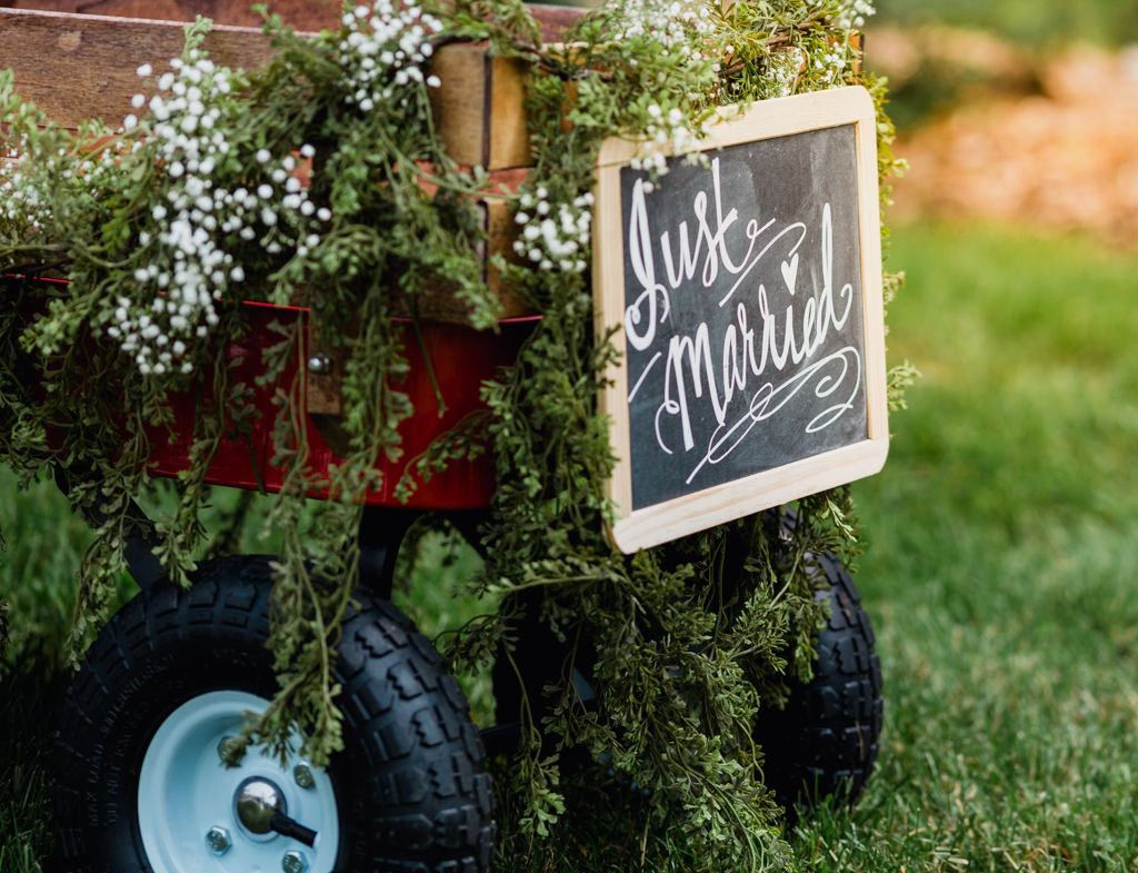 Wagon for junior bridesmaid and groomsmen. Wagon for baby in a wedding.