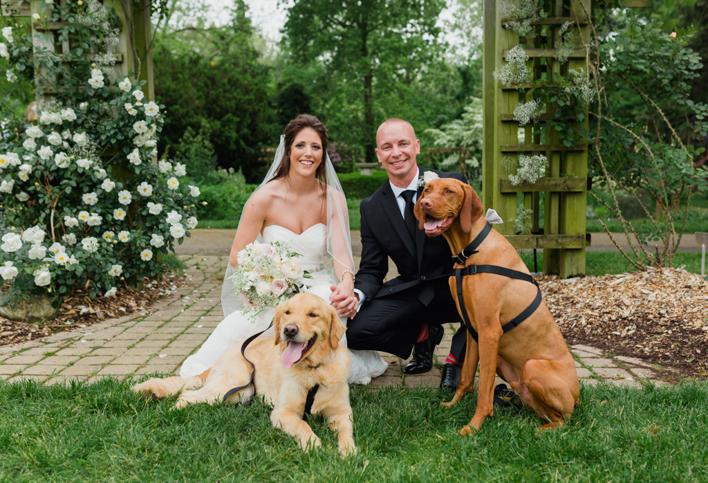Bride and Groom portrait with dogs. Bride and groom with pets. Park of Roses Wedding. Columbus OH .