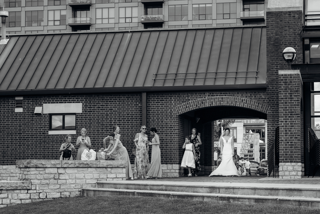 Bride getting ready for a first look with her groom at Northbank park in Columbus OH