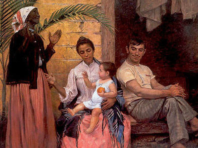 "The painting ""The Redemption of Ham"" by Modesto Brocos features a black grandmother, mixed-race mother, white father and white baby. The grandmother stands to the left with her hands raised in prayer, praising God for this ""white savior""."