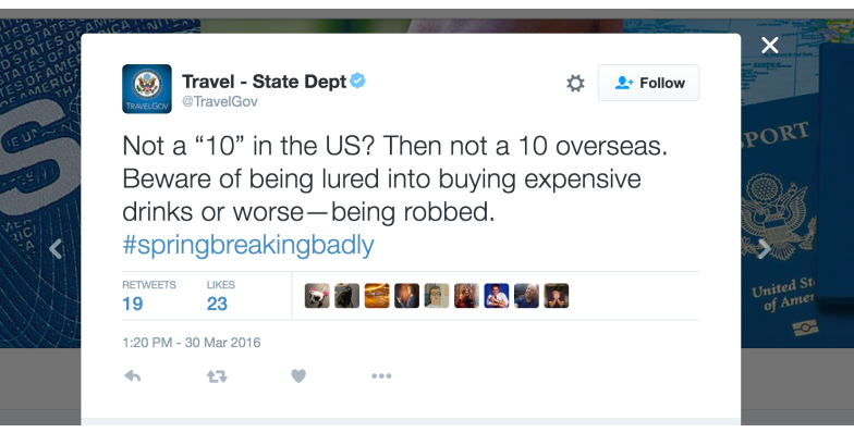 Helpful tip from the U.S. State Department