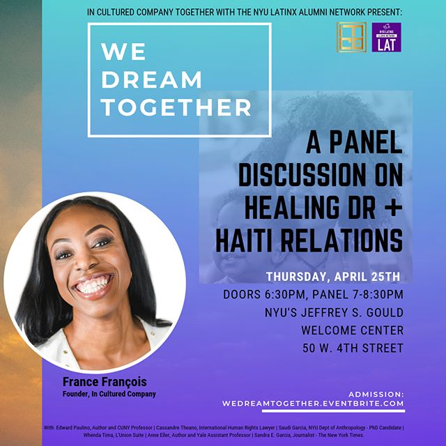 "I know that we can be better than this - that Haiti can fulfill the promises of our Revolution and be more than a stand-in for poverty; that the Dominican Republic can proudly declare itself the second black republic ever in this region rather than be a punchline for black people with Stockholm Syndrome. Join me and @inculturedco for an intimate conversation entitled ""We Dream Together"". Tickets available at Wedreamtogether.eventbrite.com"