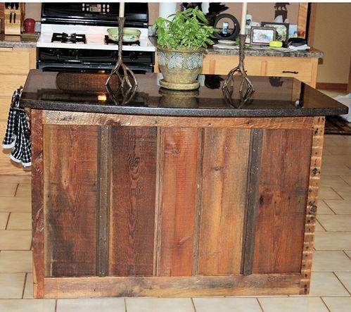 Barn Wood Kitchen Island — Barn Wood Furniture - Rustic Barnwood and Log  Furniture By Vienna Woodworks