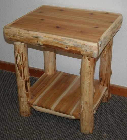 White Cedar Log End Table with Shelf — Barn Wood Furniture - Rustic  Barnwood and Log Furniture By Vienna Woodworks
