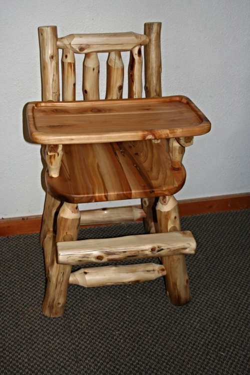 Cedar Log Baby High Chair Barn Wood Furniture Rustic Barnwood