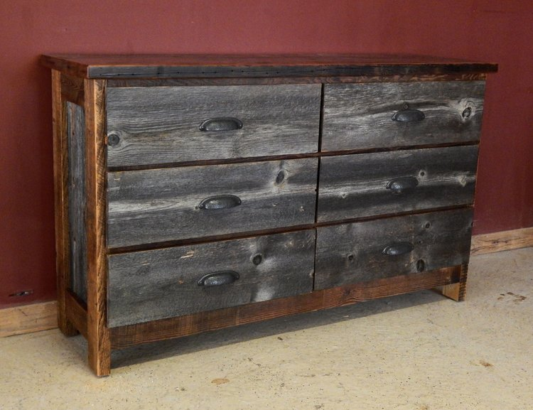 Weathered Gray Wood Dresser Six Drawer