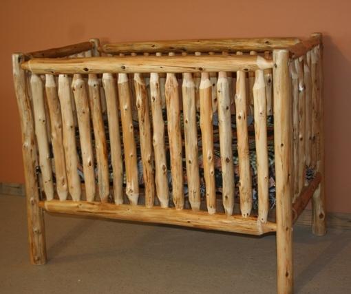 Cedar Log Baby Crib