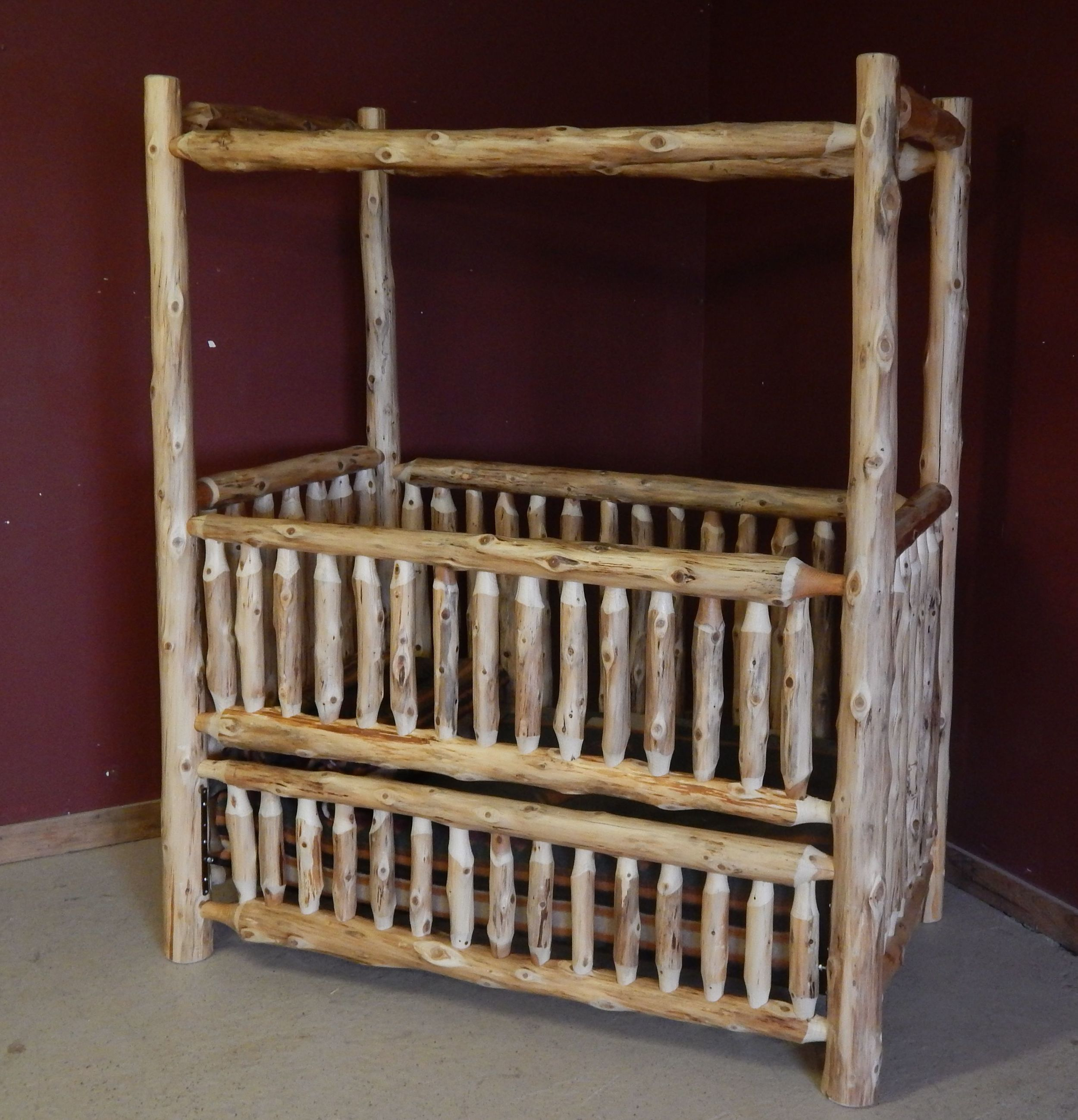 Log Canopy Baby Crib converts to toddler bed/full bed