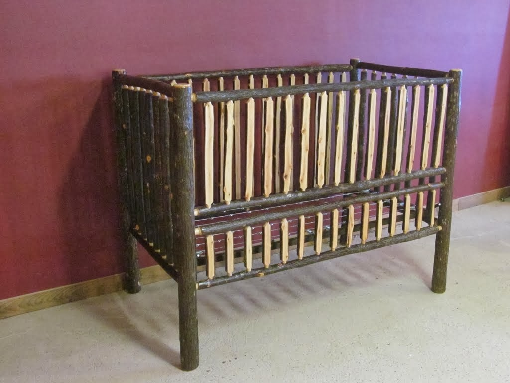 Hickory Log Slat Convertible Baby Crib converts to toddler bed/full size bed