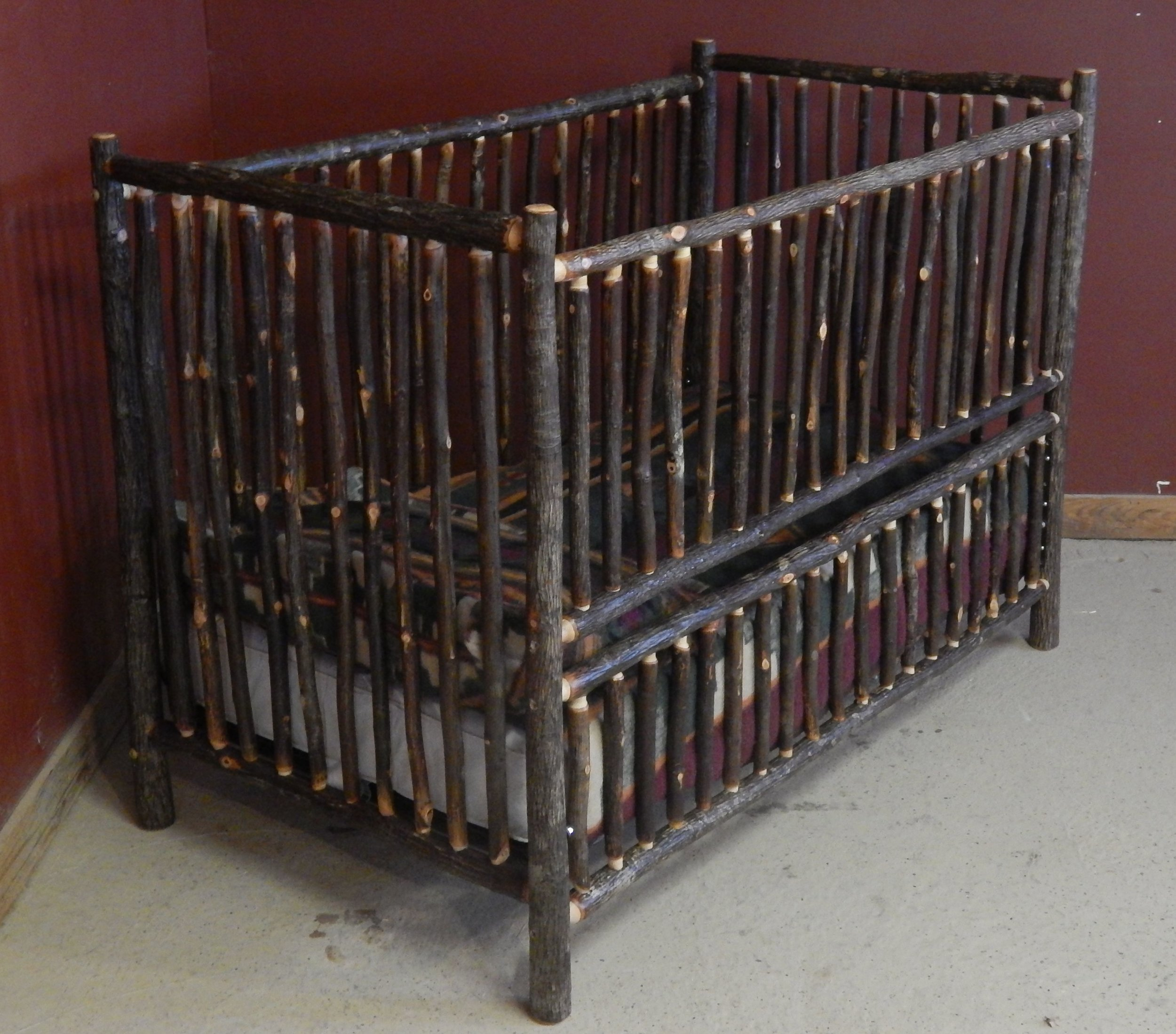Hickory Log Convertible Crib converts to toddler bed/full bed