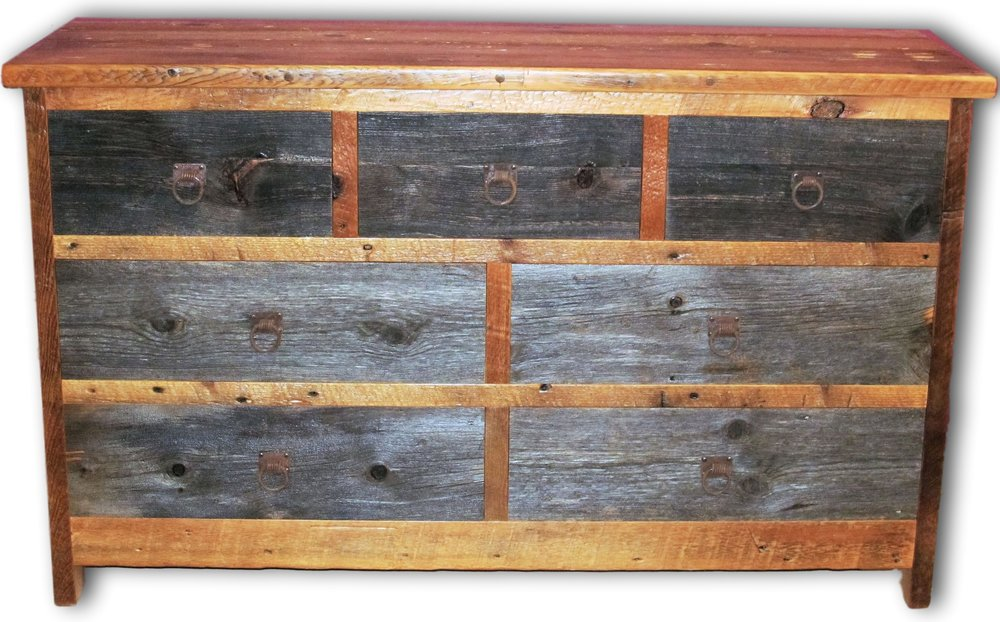 Barnwood 7 Drawer Dresser Two Tone Barn Wood Furniture Rustic