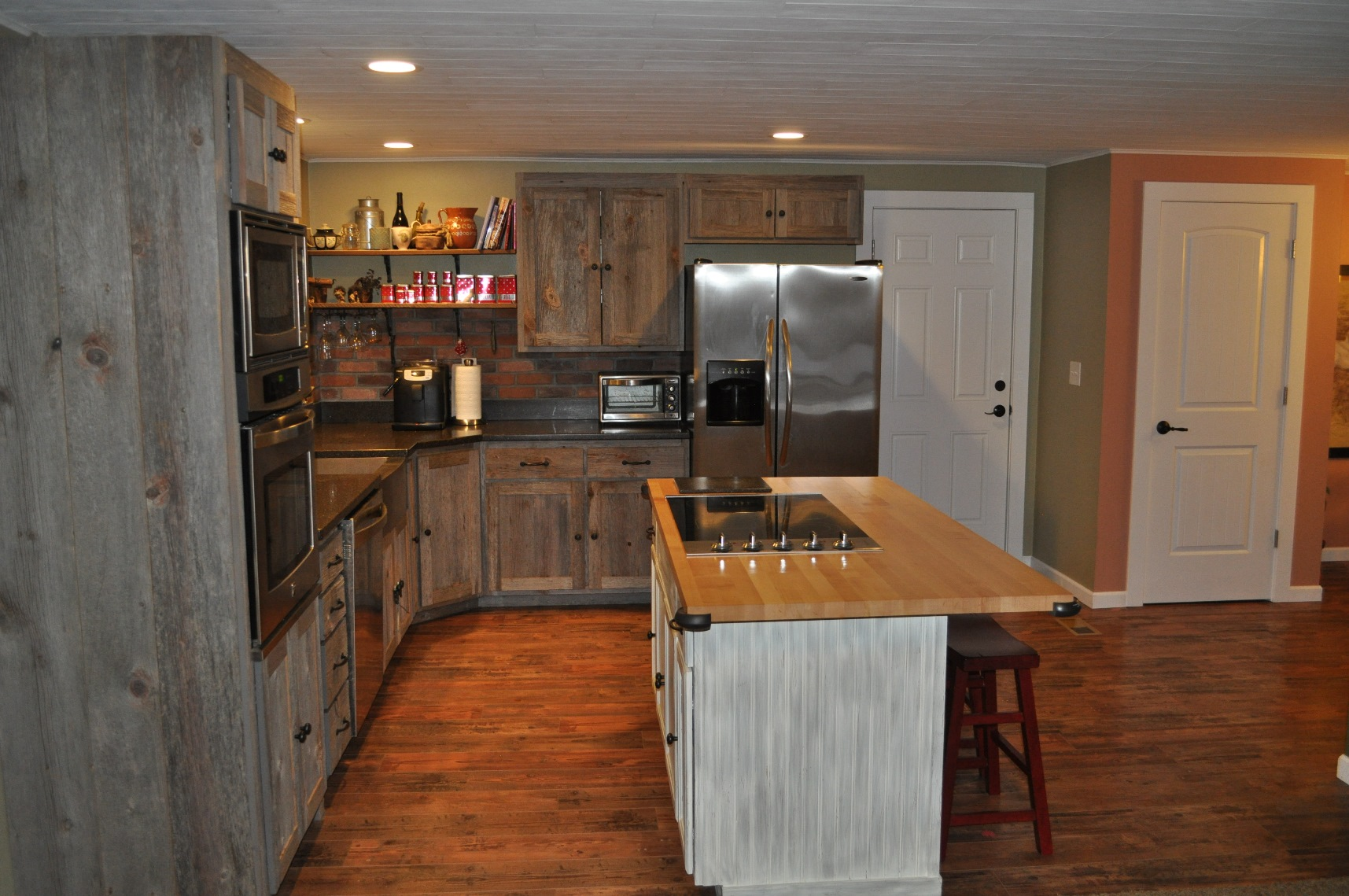 Weathered Gray Barnwood Kitchen Cabinets For Sale