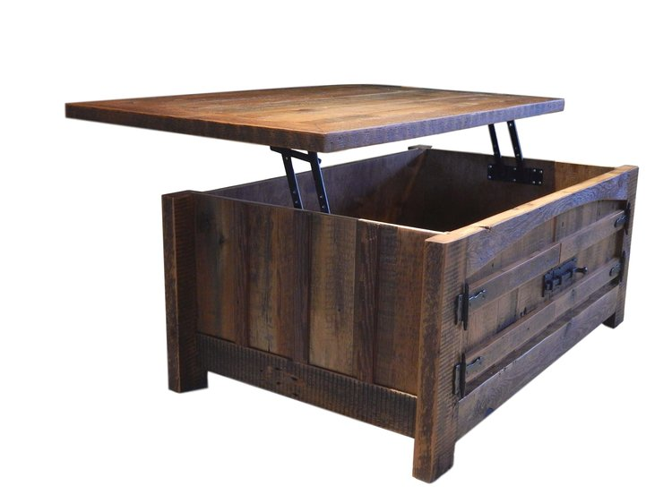 Arched Barnwood Coffee Table With Top Lift Jpeg
