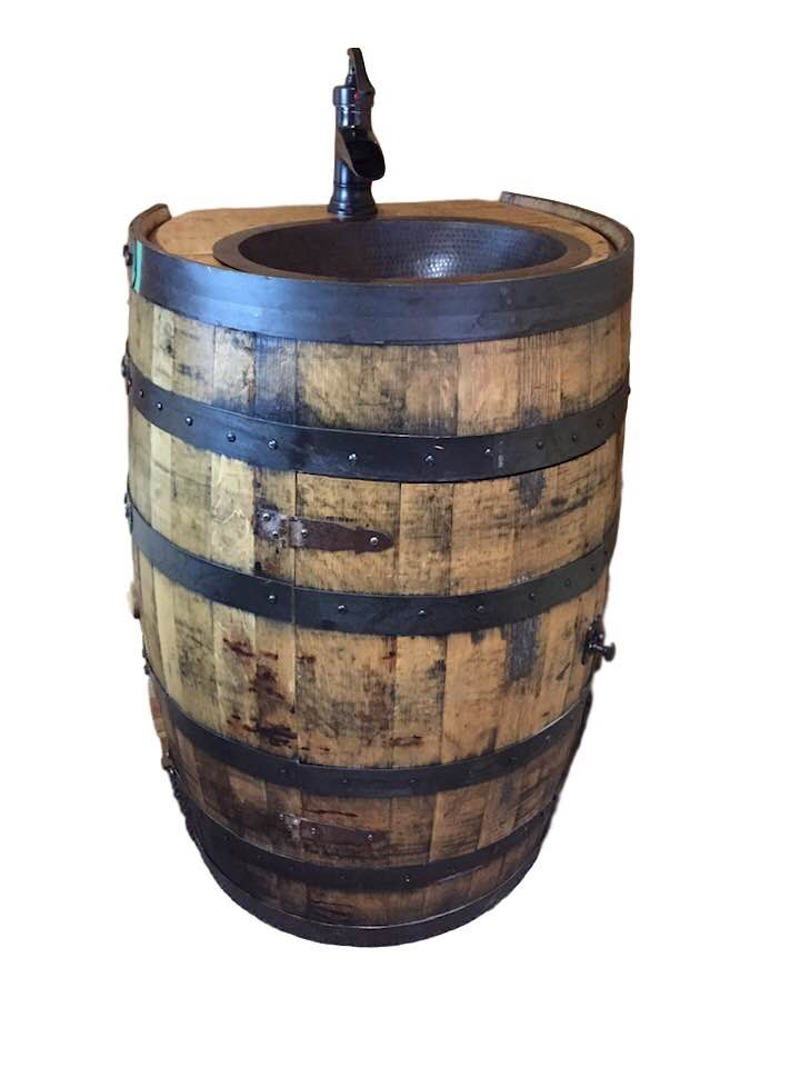 Barrel Vanity With Flat Back Includes Sink And Faucet