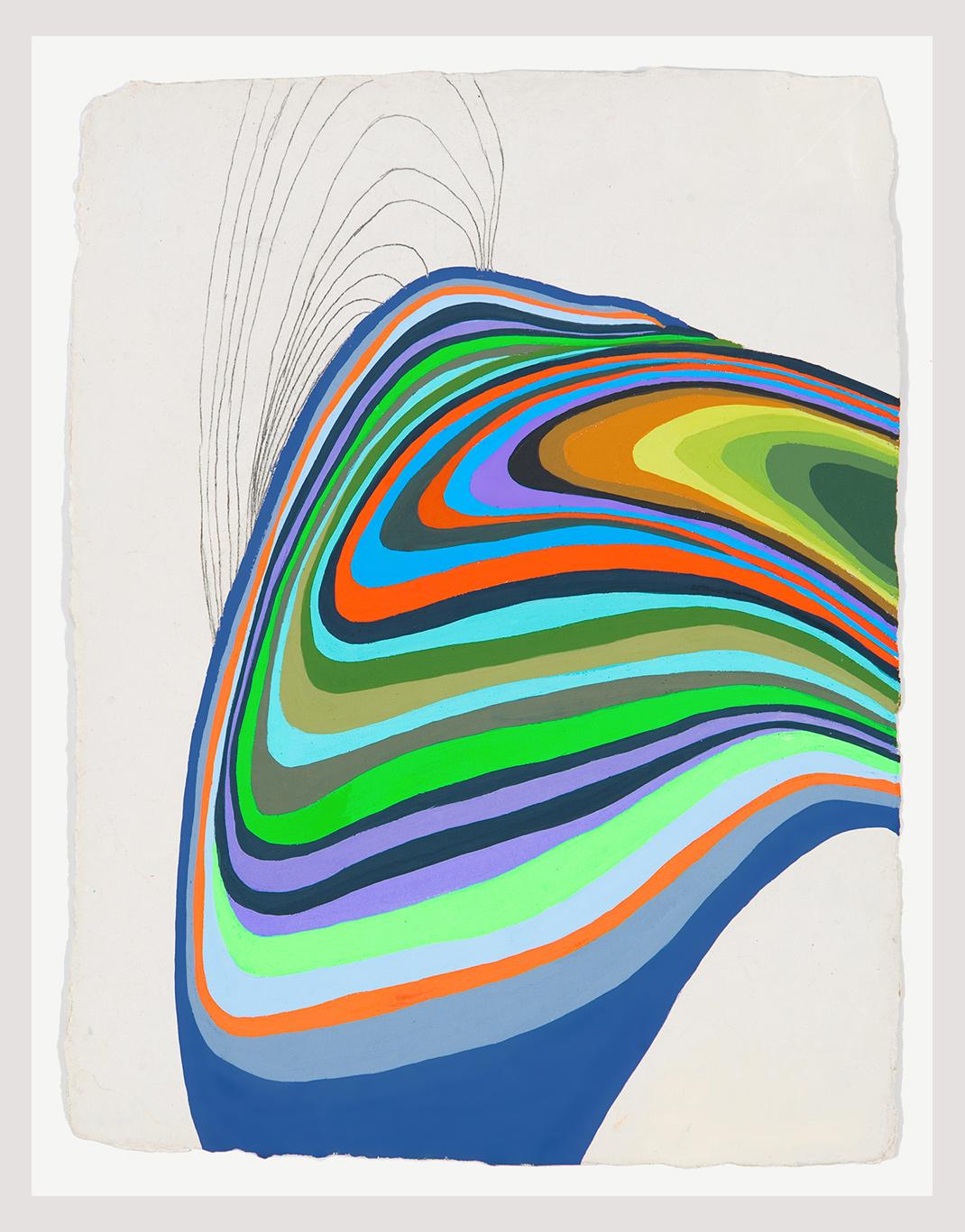 "Plasmora #9, gouache on handmade paper, 13"" x 10"""