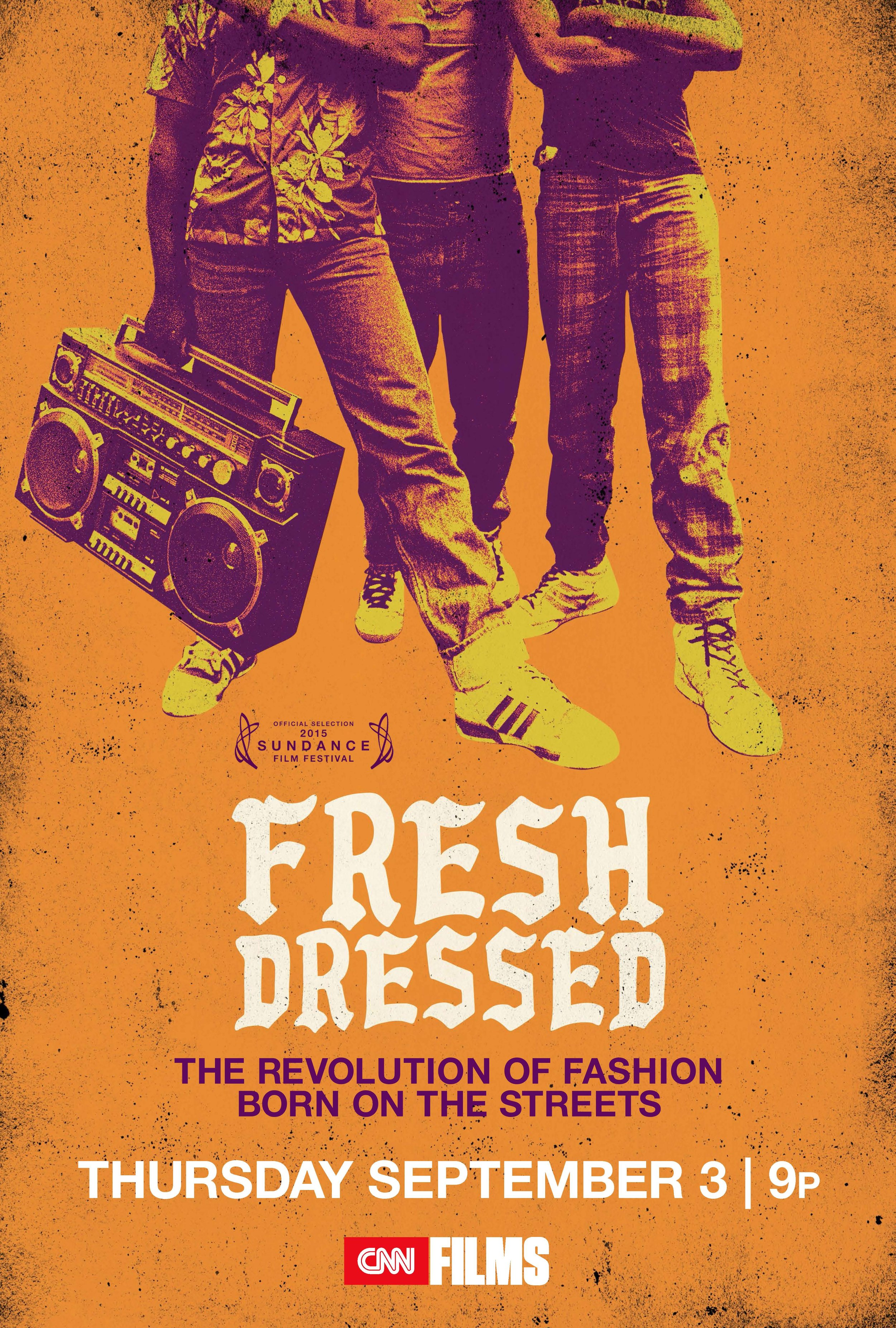"""Fresh Dressed - is a fascinating chronicle of hip-hop, urban fashion, and the hustle that brought oversized pants and graffiti-drenched jackets from Orchard Street to high fashion's catwalks and Middle America shopping malls. Director Sacha Jenkins' music-drenched history draws from a rich mix of archival materials and in-depth interviews with rappers, designers, and other industry insiders.Featuring Kanye West, Pharrell Williams, Sean """"Puffy"""" Combs, Nas, Pusha T, Swizz Beatz, Damon Dash, André Leon Talley, A$AP Rocky, Marc Ecko, Big Daddy Kane, Kid 'N Play & many others.Sundance Film Festival World Premiere: Jan 24th 2015Broadcast Premiere: June 26th 2015 CNN FILMSDirected By Sacha JenkinsProduced By Marcus A. ClarkeTap poster view trailer"""