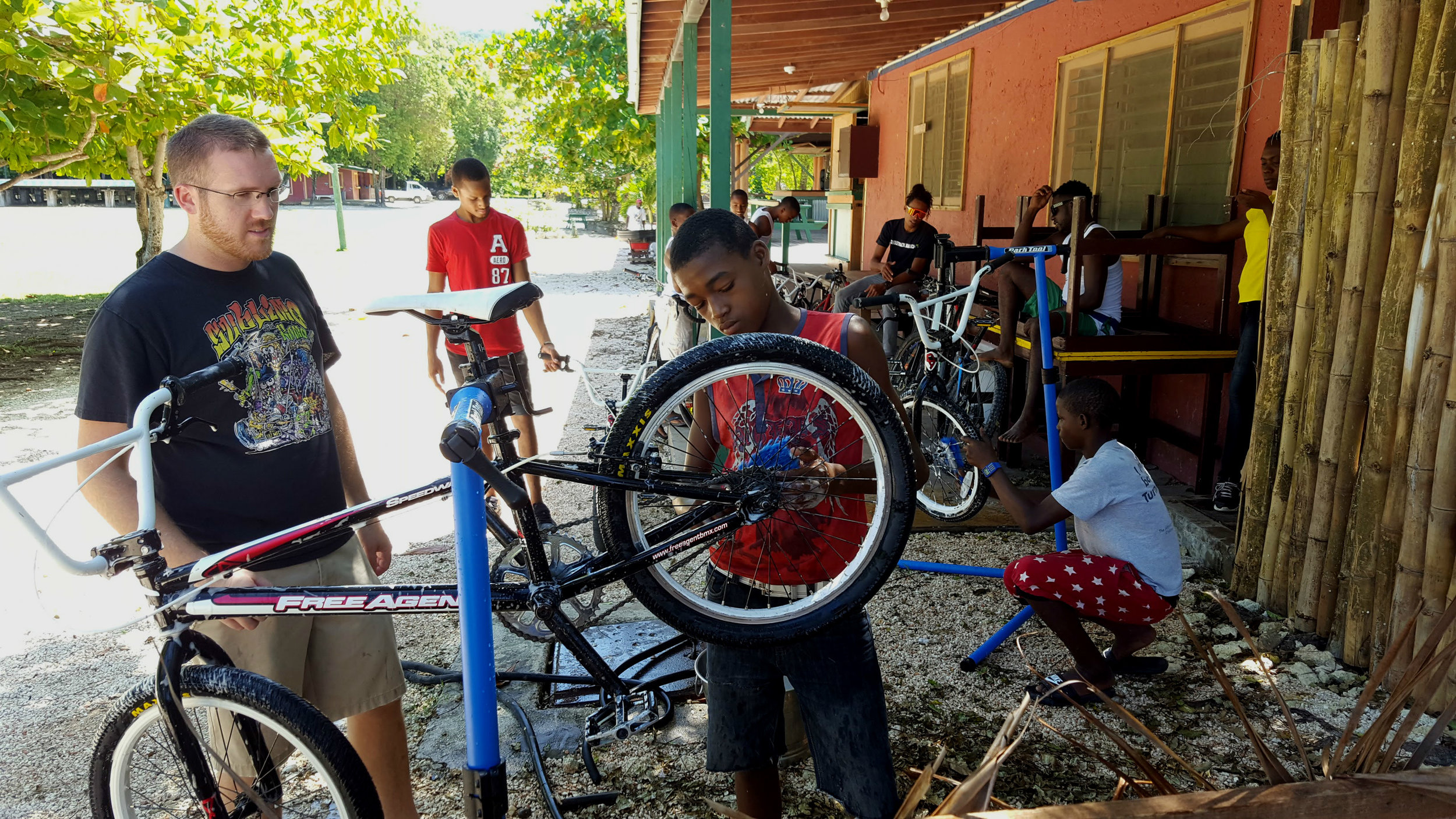 Learning how to wash a bike.