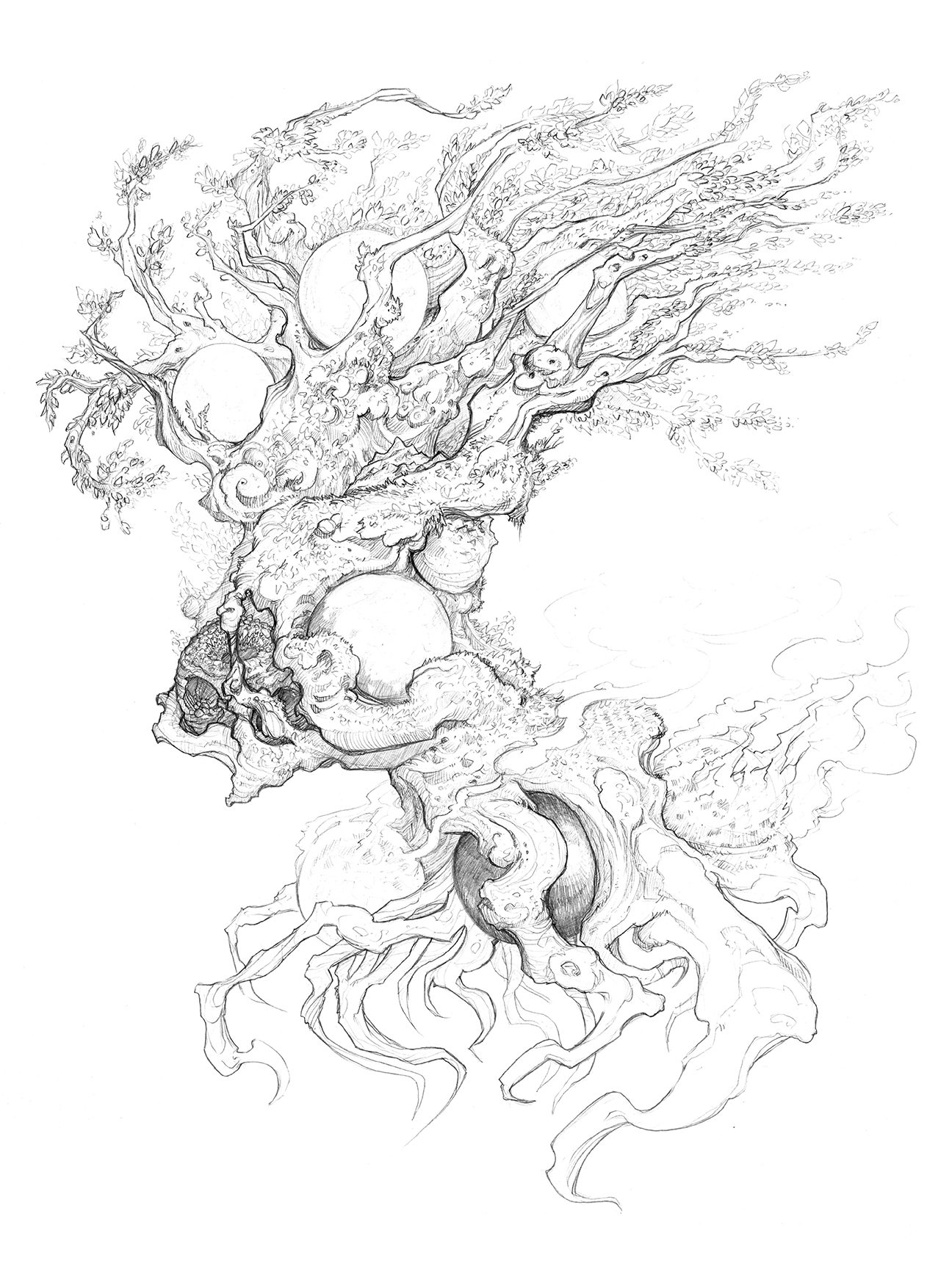 """Pencil Drawing for """"Yggdrasil, the World Tree""""  Copyright © 2018 Sam Flegal, All Rights Reserved"""
