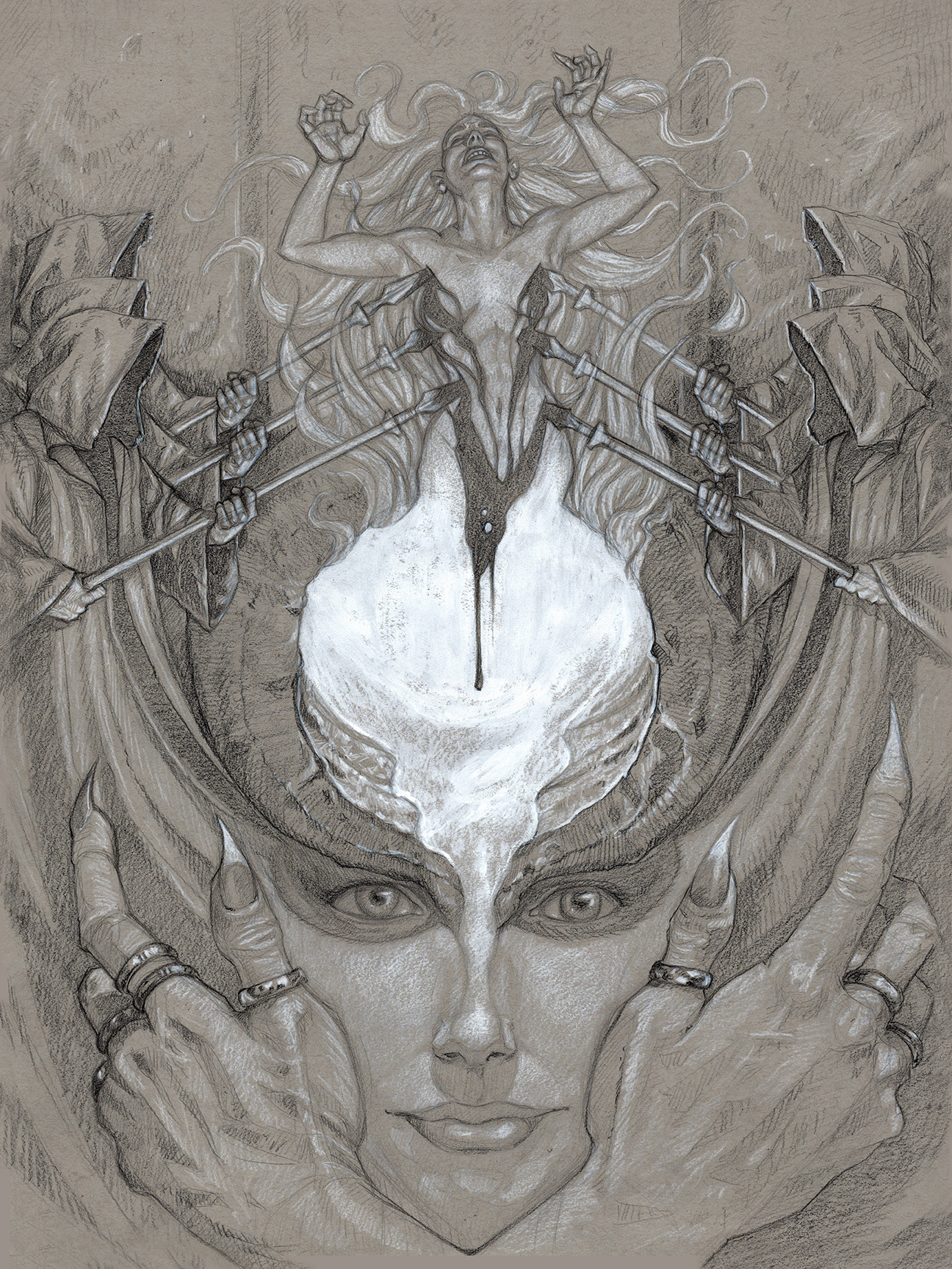 """Pencil Drawing for """"Gullveig, Thrice Born""""  Copyright © 2019 Sam Flegal, All Rights Reserved"""