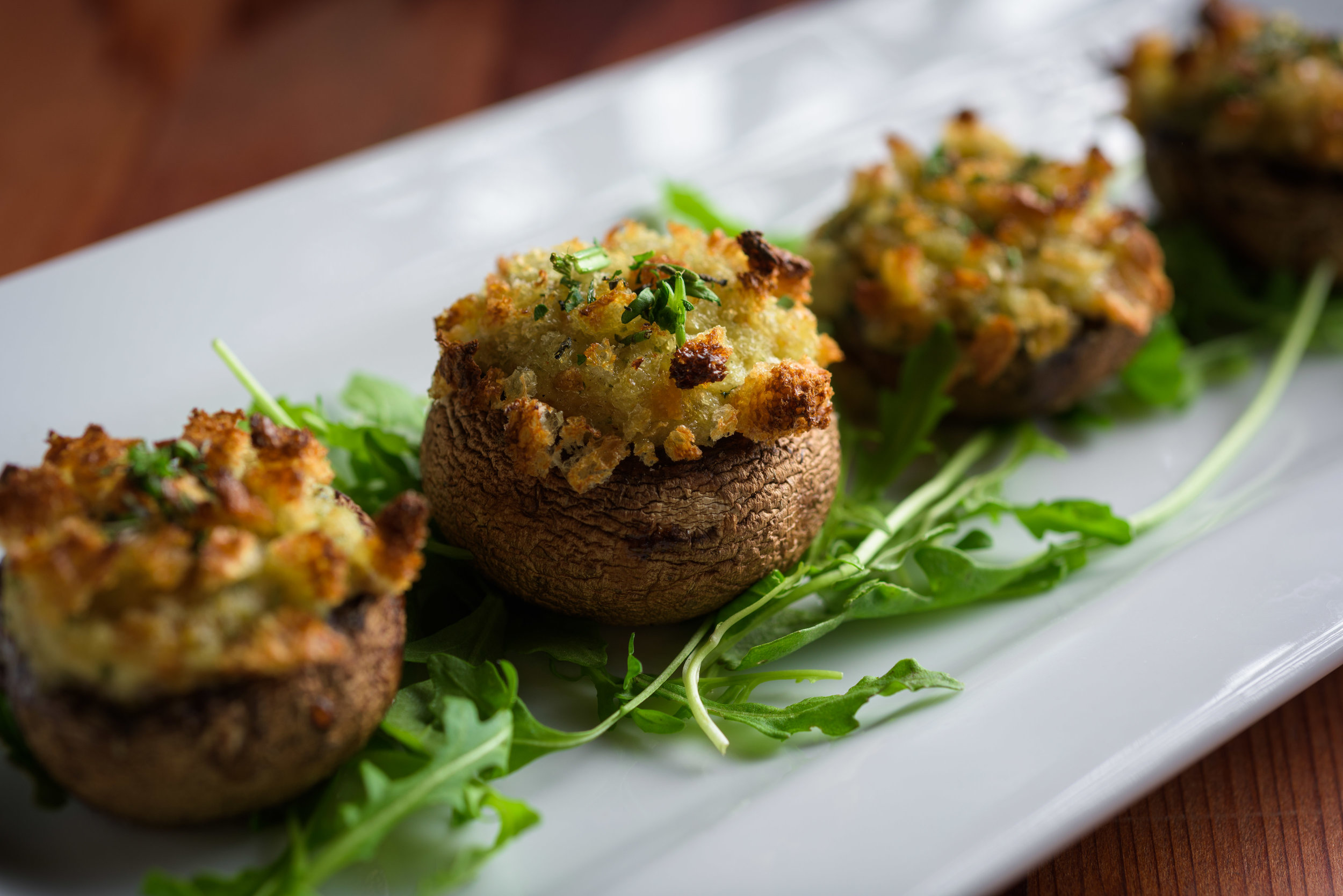 stuffed mushroom appetizer – cupertino food photos at rootstock wine bar - photos by bay area commercial photographer chris schmauch