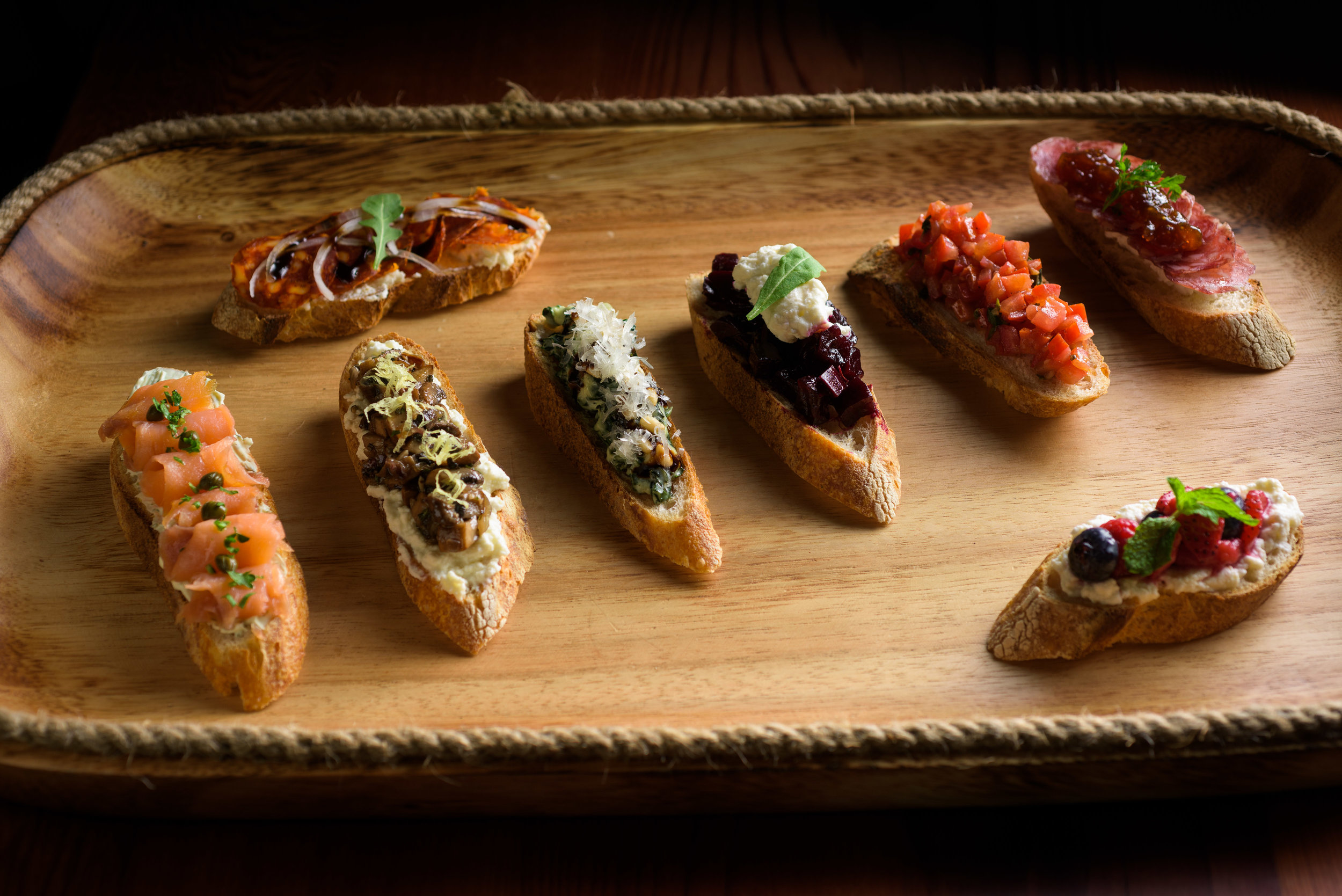 platter of various flatbread appetizers - Cupertino food photography - RootStock Wine Bar - photos by Bay Area commercial photographer Chris Schmauch