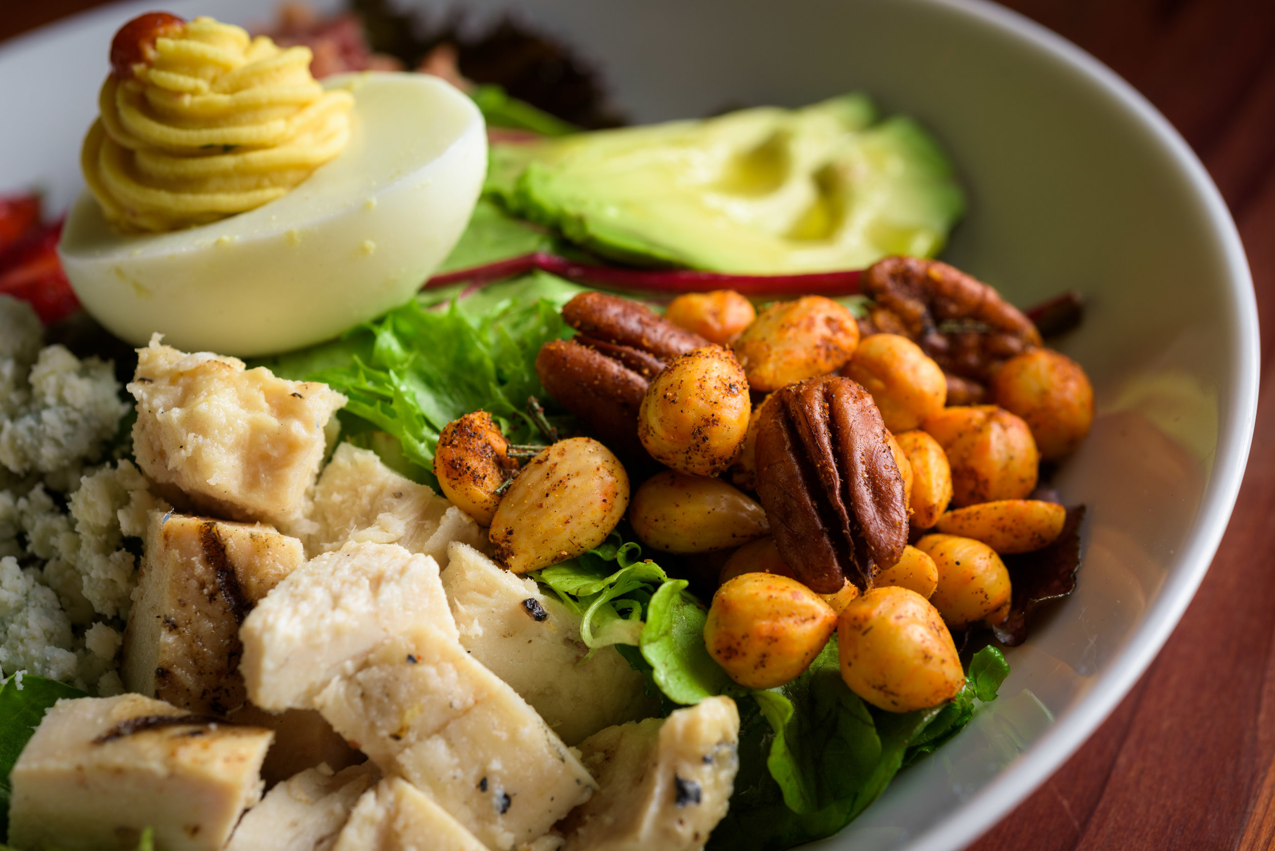 closeup of cobb salad - Cupertino food photography - RootStock Wine Bar - photos by Bay Area commercial photographer Chris Schmauch