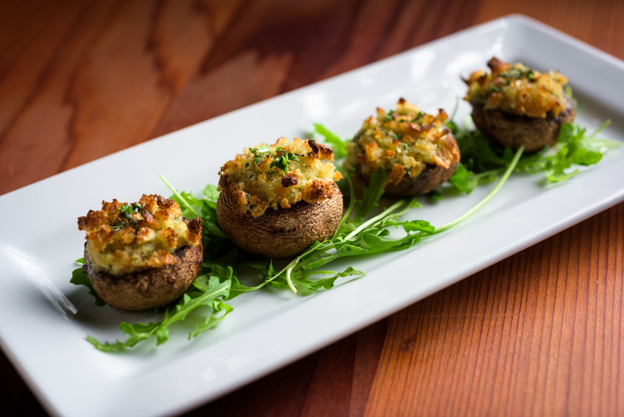 closeup of stuffed mushroom appetizer - Cupertino food photography - RootStock Wine Bar - photos by Bay Area commercial photographer Chris Schmauch