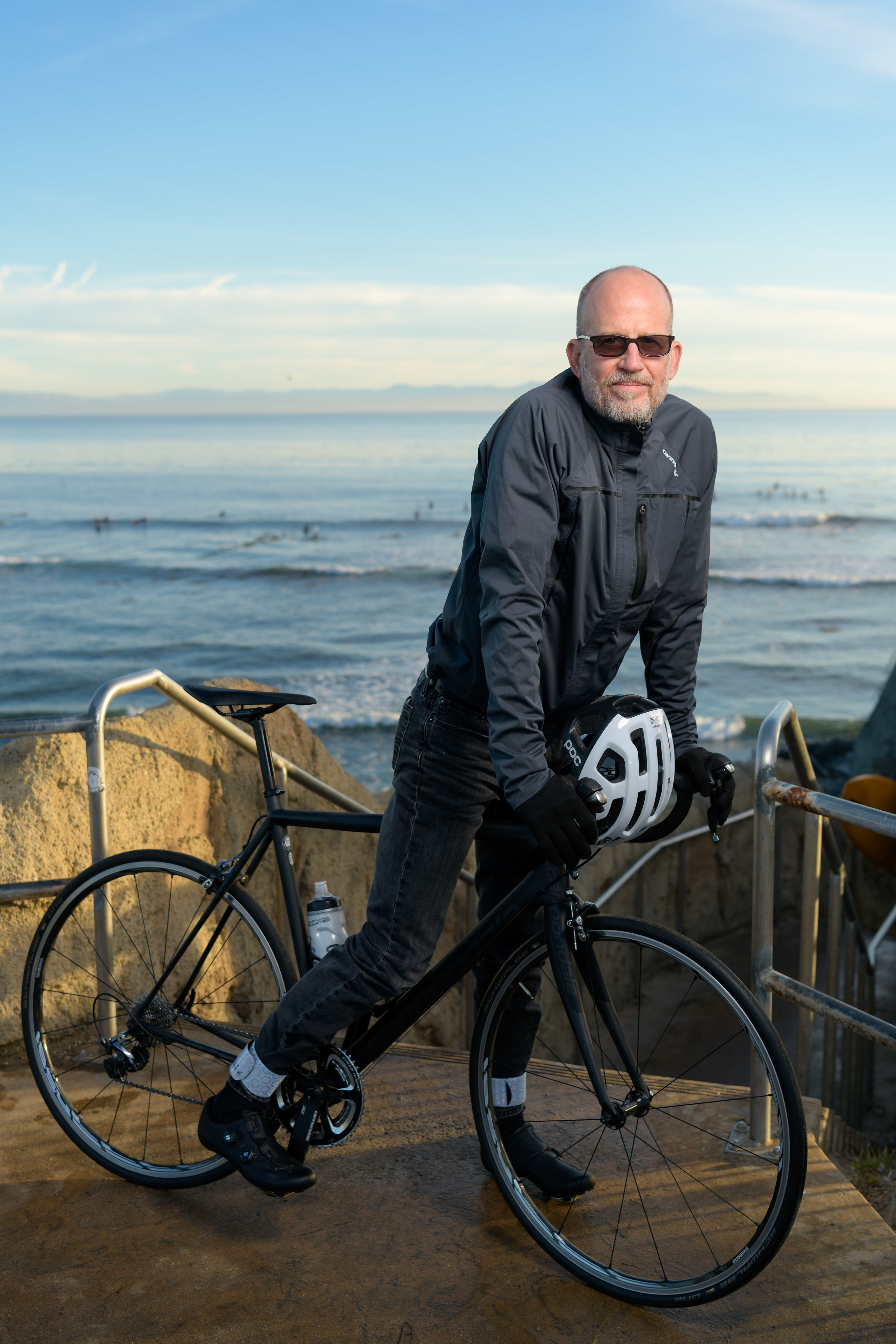 Santa Cruz Editorial Portrait with Bicycle - by Bay Area commercial portrait photographer Chris Schmauch